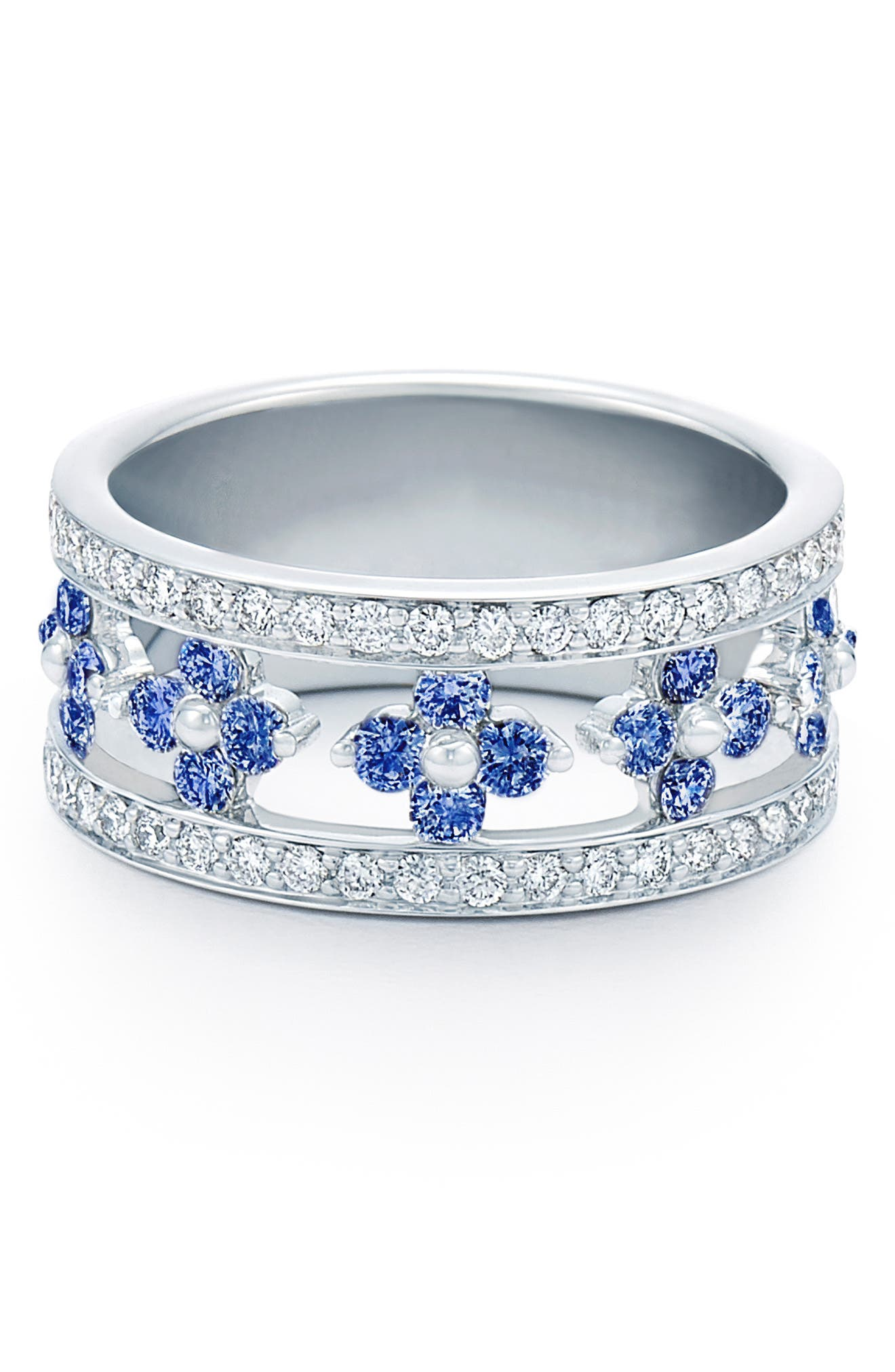 KWIAT Jasmine Sapphire & Diamond Band Ring, Main, color, WHITE GOLD