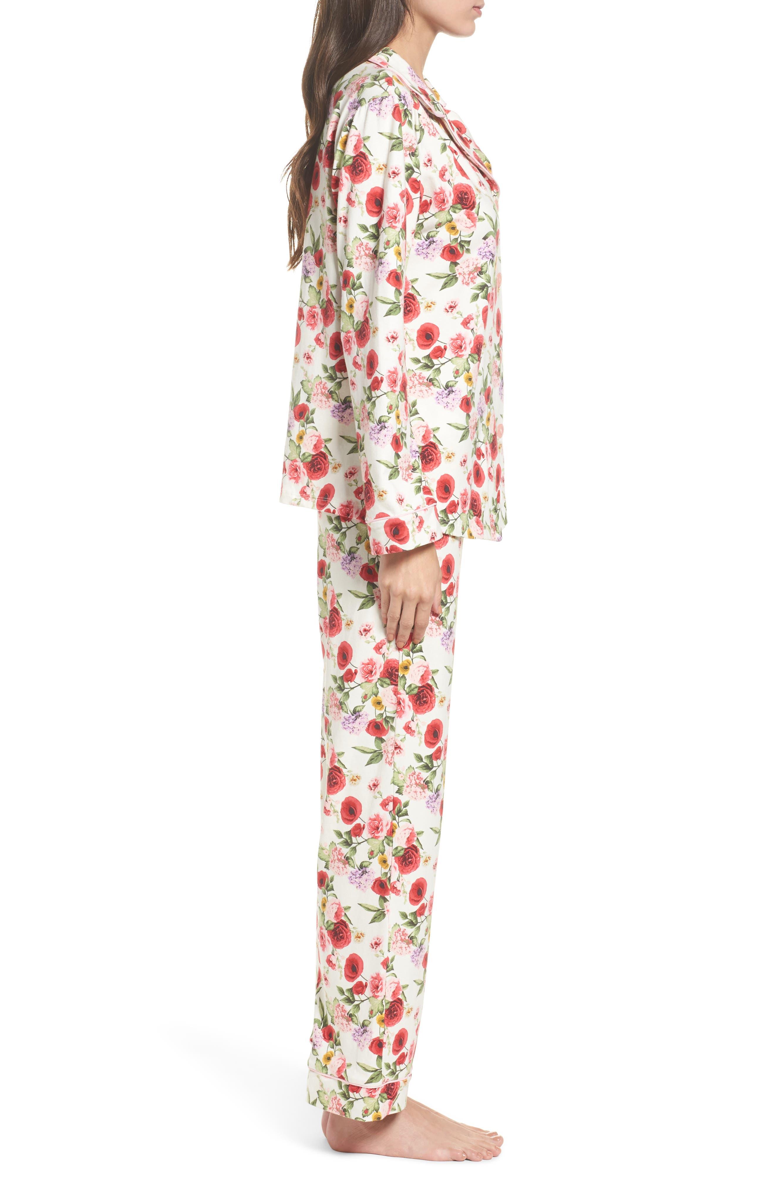 Flower Print Pajamas,                             Alternate thumbnail 3, color,                             650