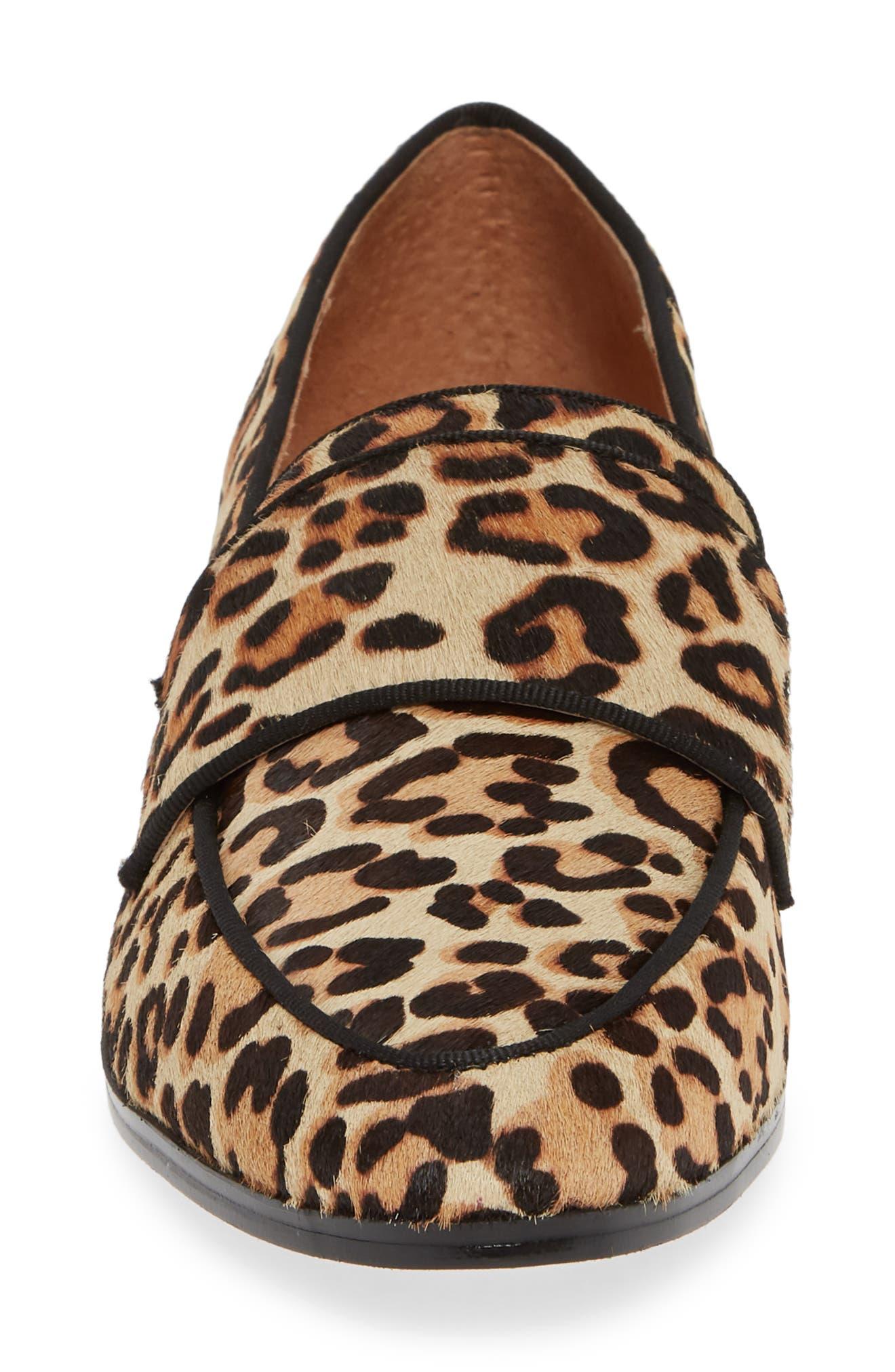 Emilia Genuine Calf Hair Loafer,                             Alternate thumbnail 4, color,                             LEOPARD CALF HAIR