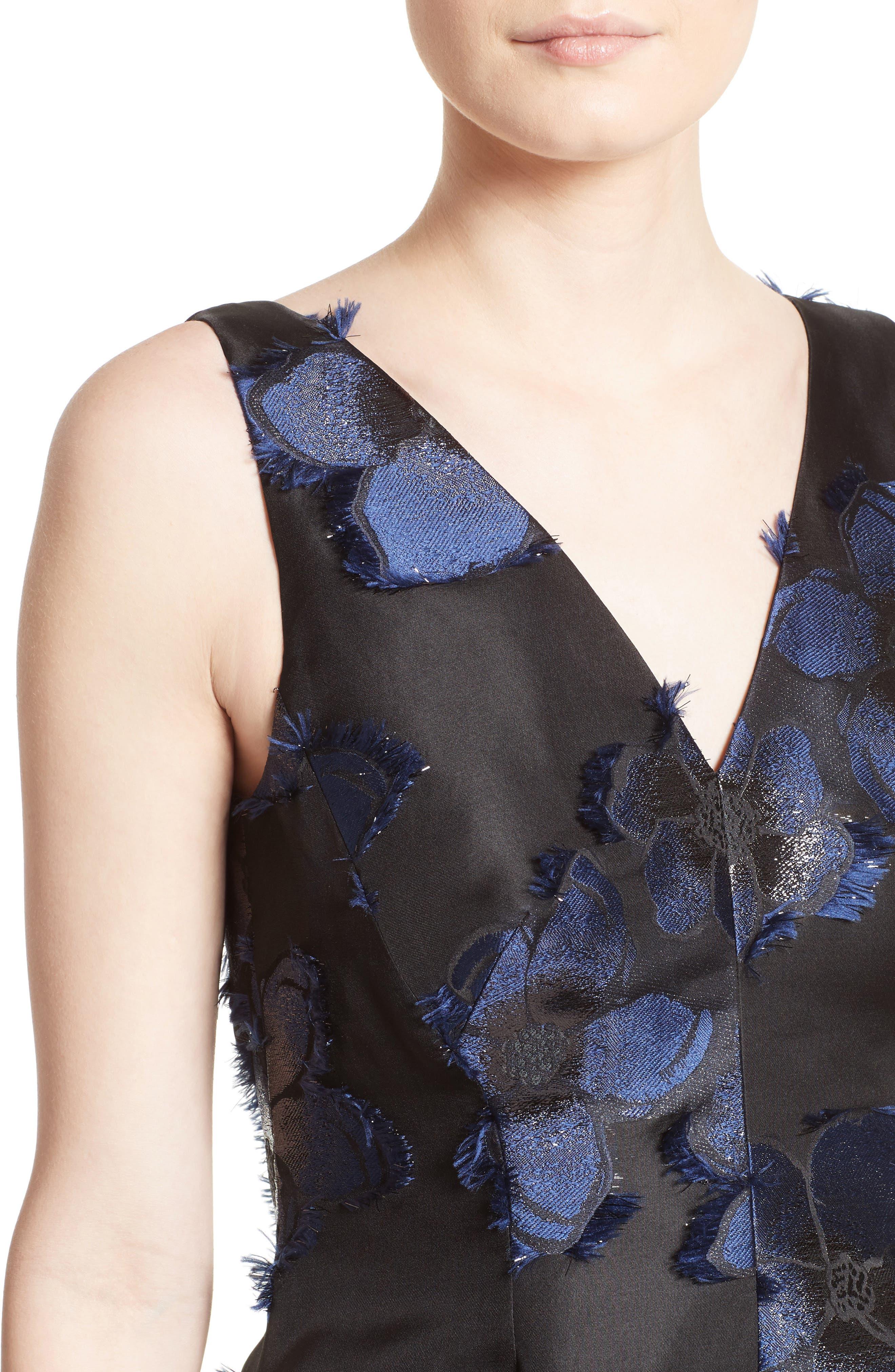 High/Low Metallic Fil Coupé Dress,                             Alternate thumbnail 4, color,                             410