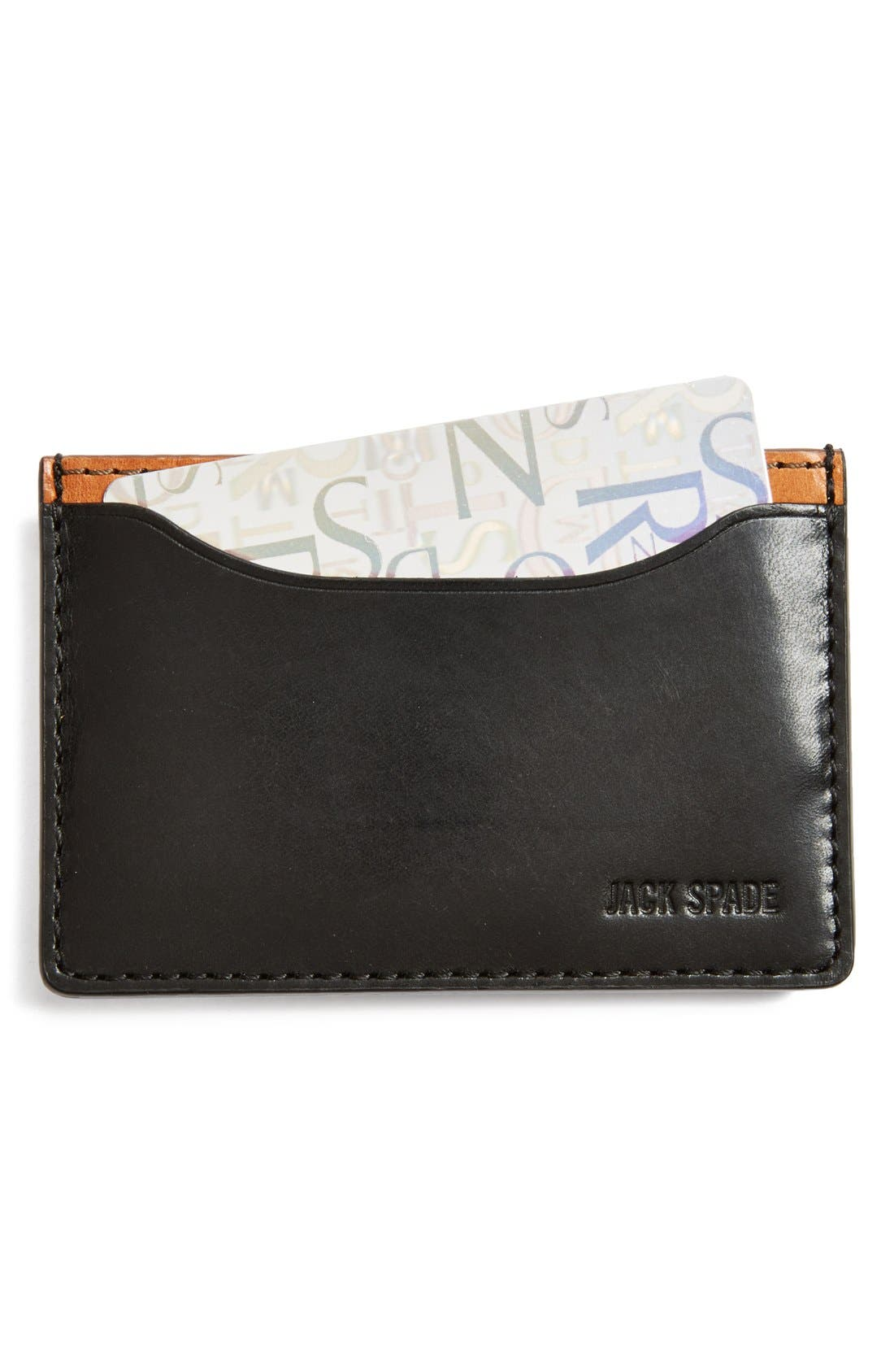 JACK SPADE,                             'Mitchell' Leather Card Holder,                             Main thumbnail 1, color,                             001