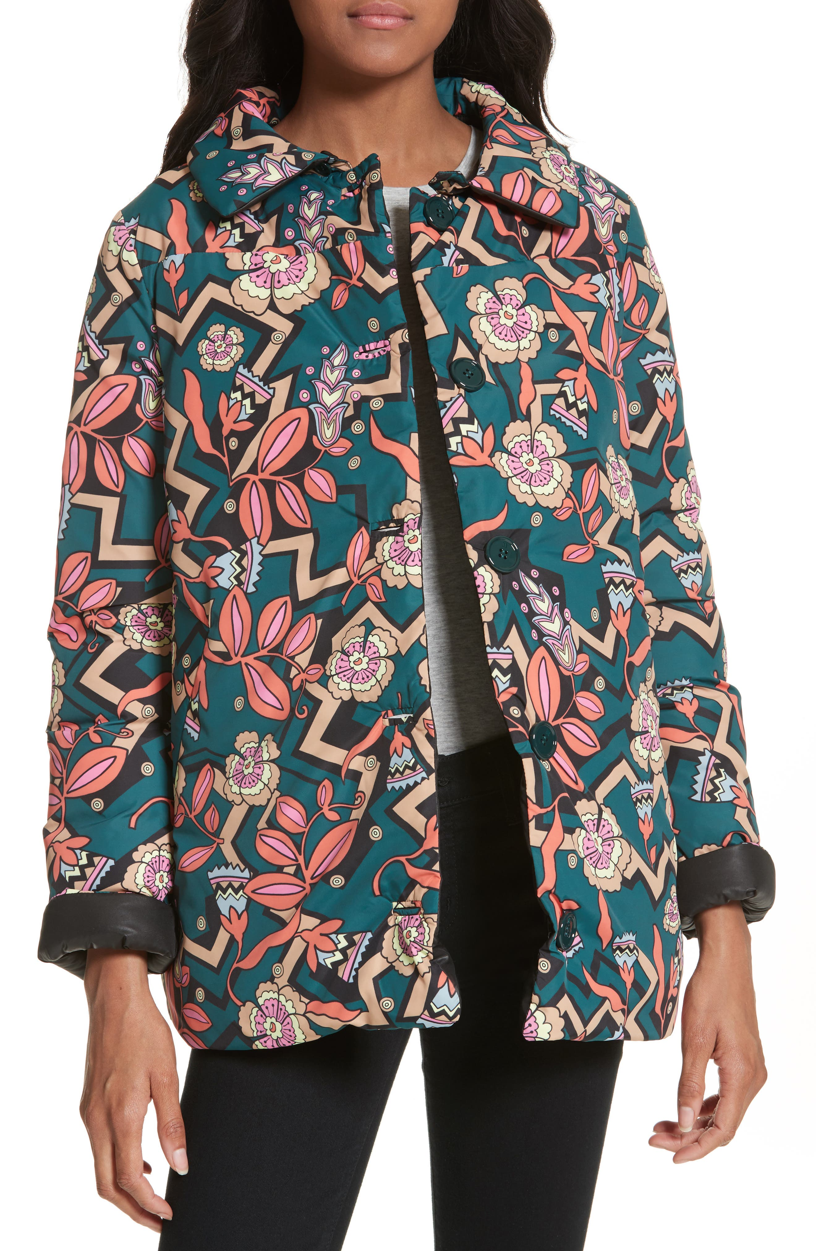 Reversible Printed Puffer Jacket,                         Main,                         color,