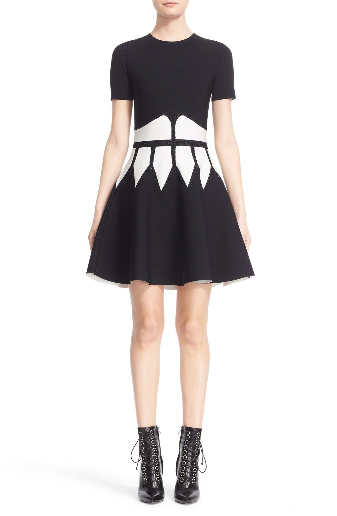 Intarsia Knit Fit & Flare Dress,                             Main thumbnail 1, color,                             BLACK/ WHITE