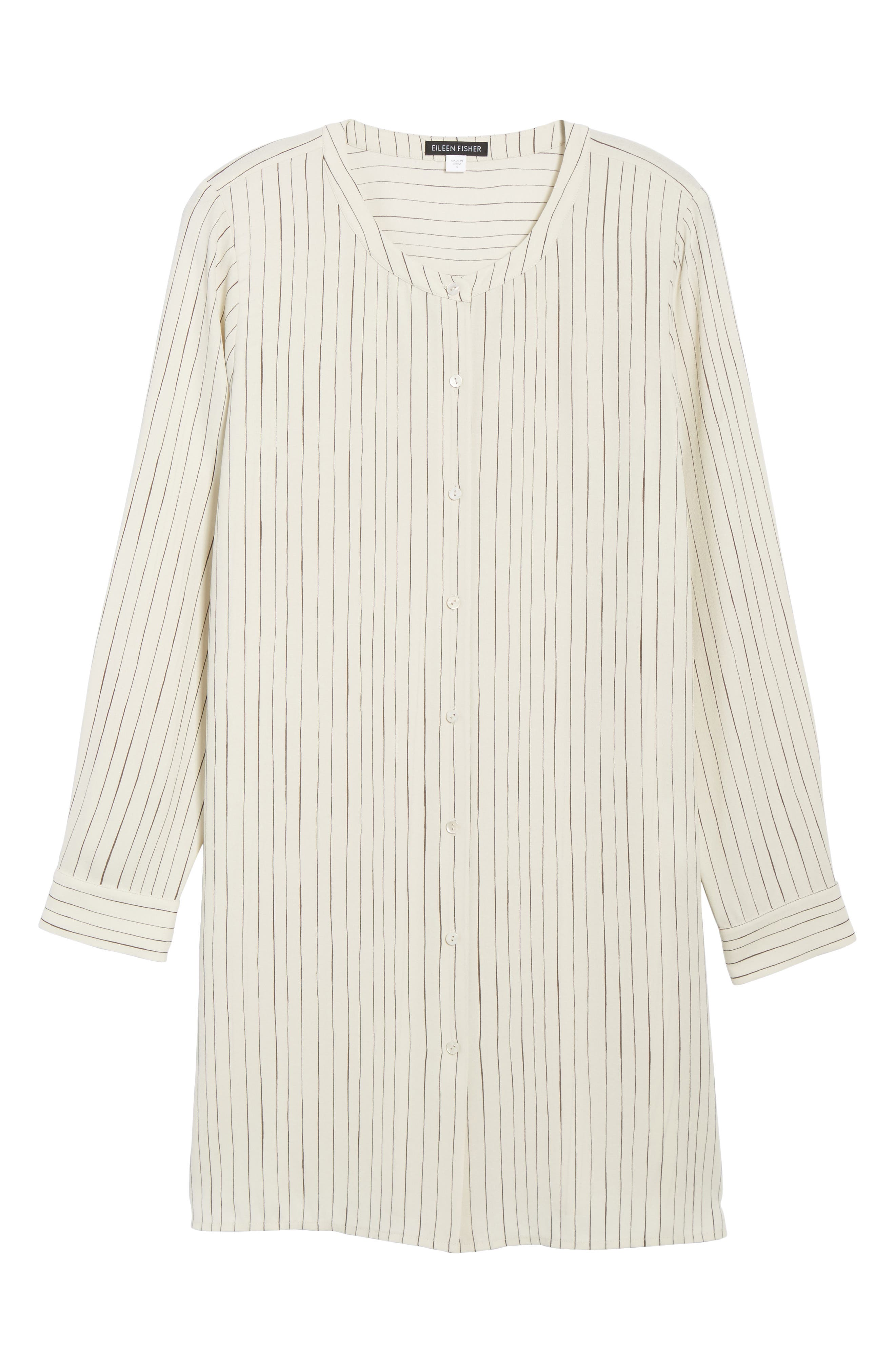 Stripe Silk Georgette Crepe Long Shirt,                             Alternate thumbnail 6, color,                             907