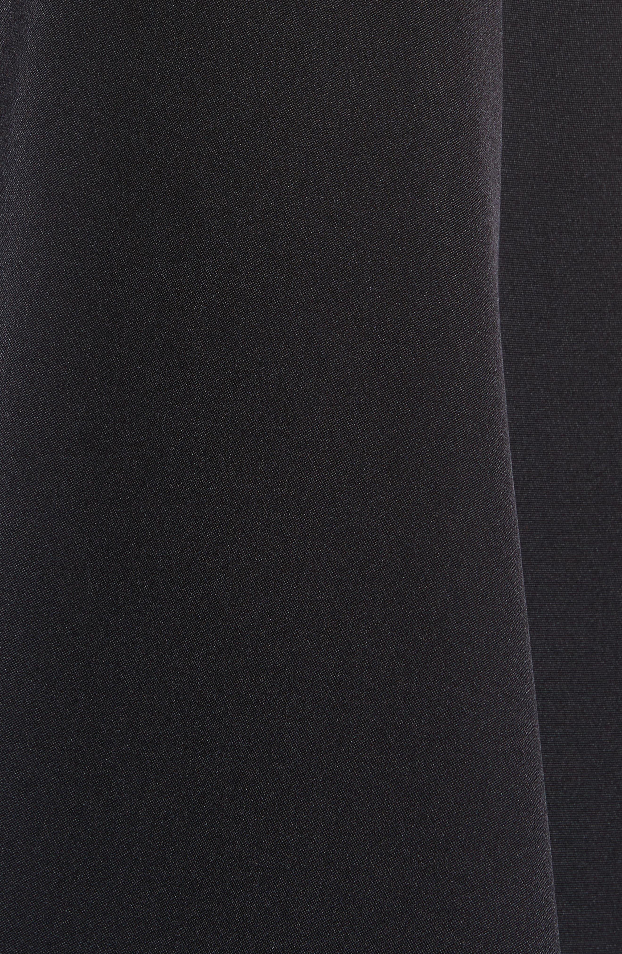 Fringe Trim Satin Crepe Asymmetrical Jumpsuit,                             Alternate thumbnail 5, color,                             001