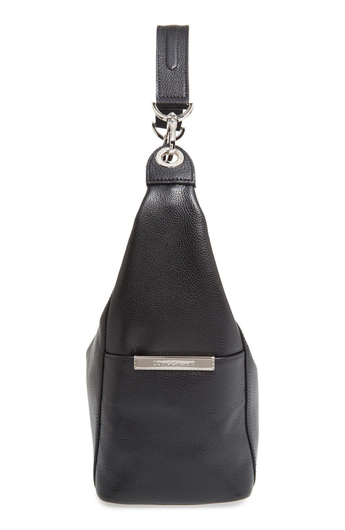 'Le Foulonne' Leather Hobo Bag,                             Alternate thumbnail 5, color,                             BLACK