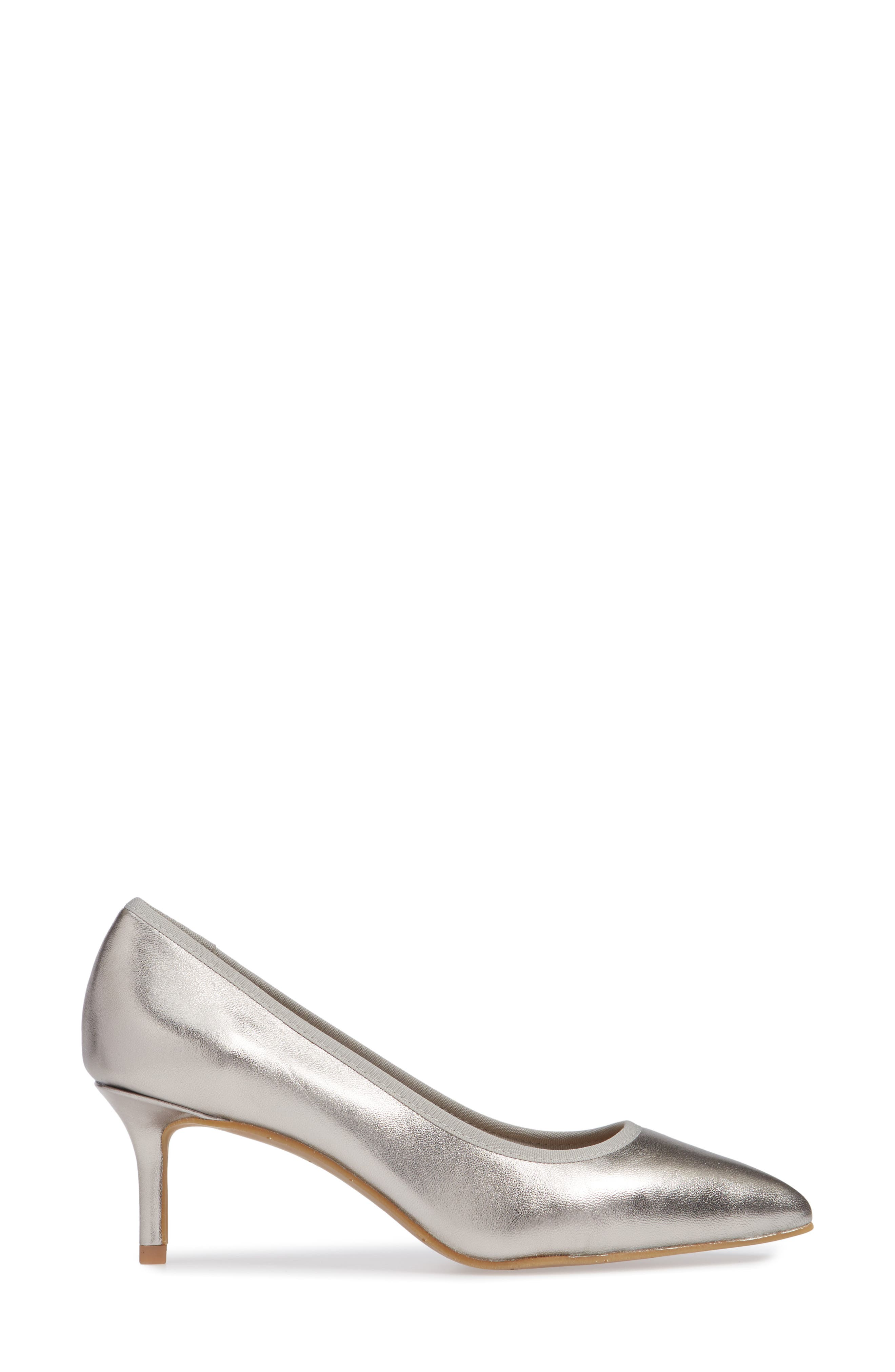 NIC + ZOE Cora Pointy Toe Pump,                             Alternate thumbnail 3, color,                             PEWTER LEATHER