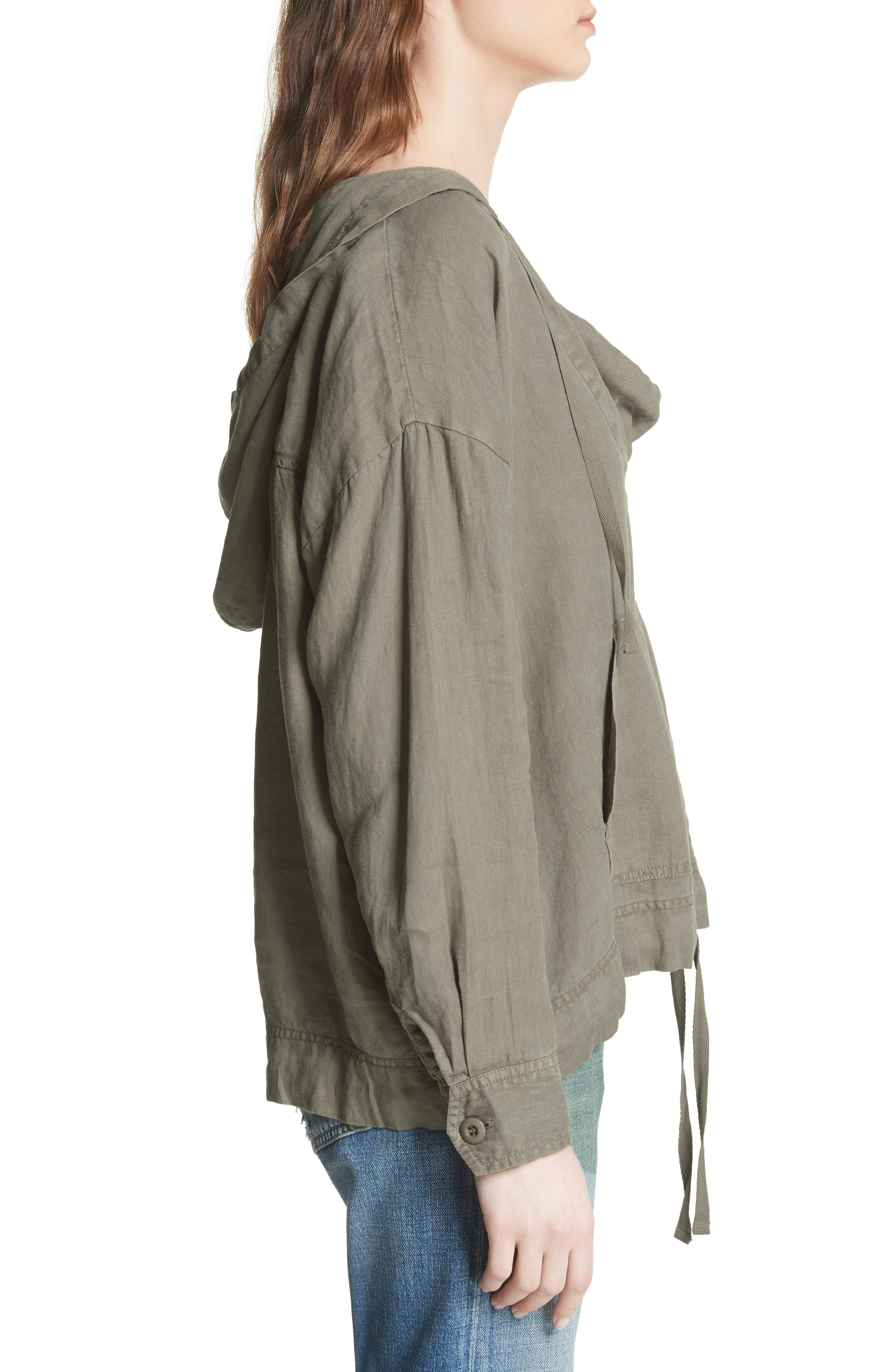 Dalal Linen Hoodie Top,                             Alternate thumbnail 3, color,
