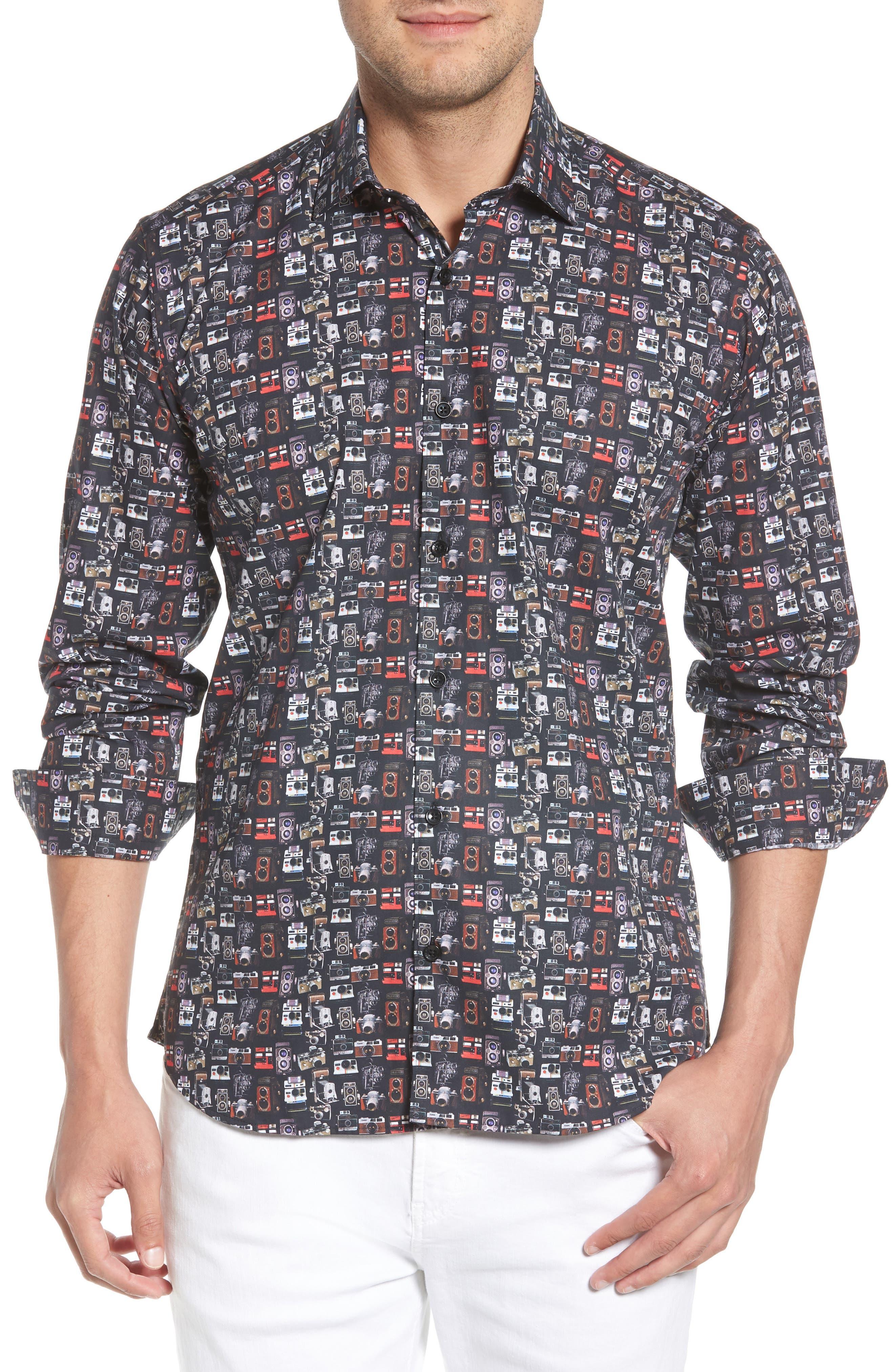 Camera Print Long Sleeve Sport Shirt,                             Main thumbnail 1, color,                             001
