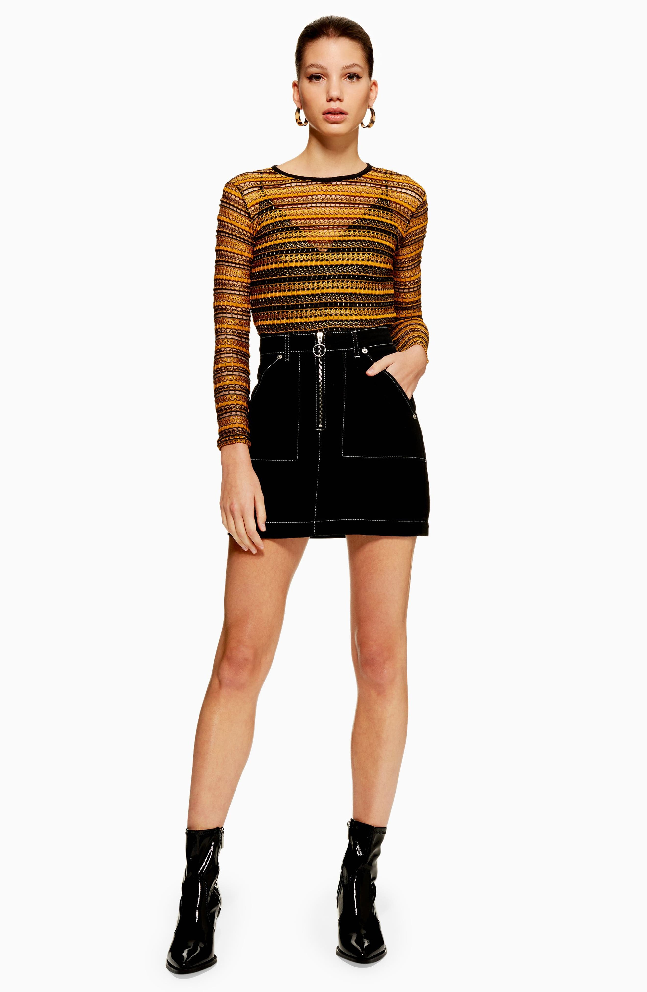 Stripe Lace Crop Top,                             Alternate thumbnail 7, color,                             YELLOW MULTI