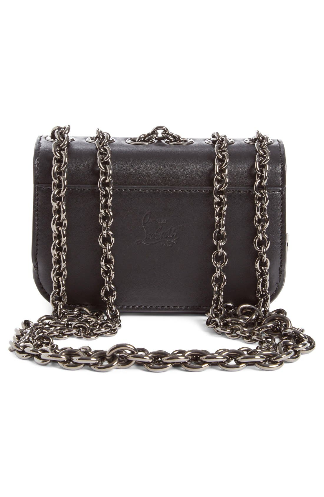 'Mini Sweet Charity' Spiked Calfskin Shoulder/Crossbody Bag,                             Alternate thumbnail 5, color,                             003