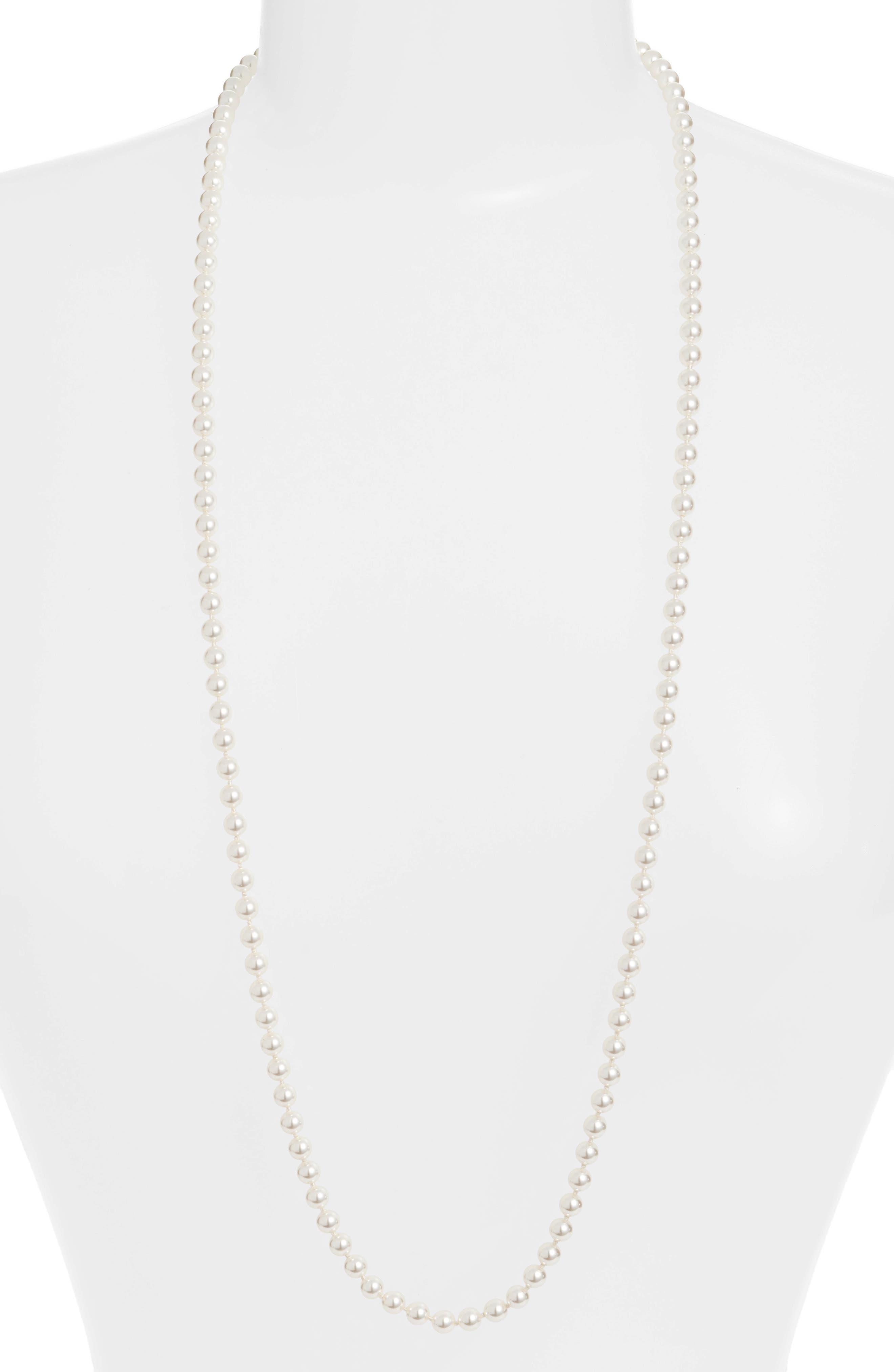 NADRI Long Strand Pearl Necklace in Gray