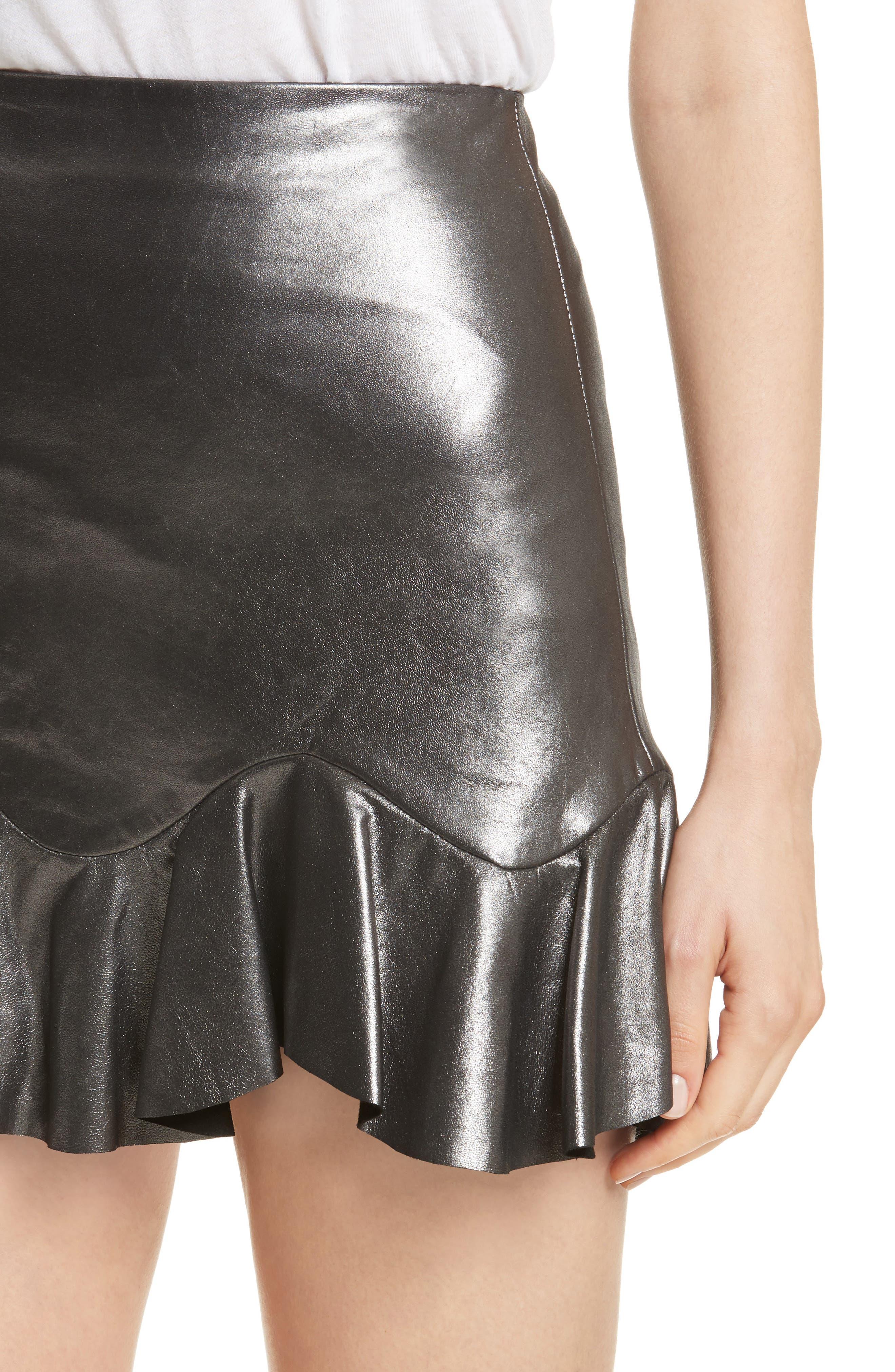 Metallic Leather Miniskirt,                             Alternate thumbnail 4, color,                             093