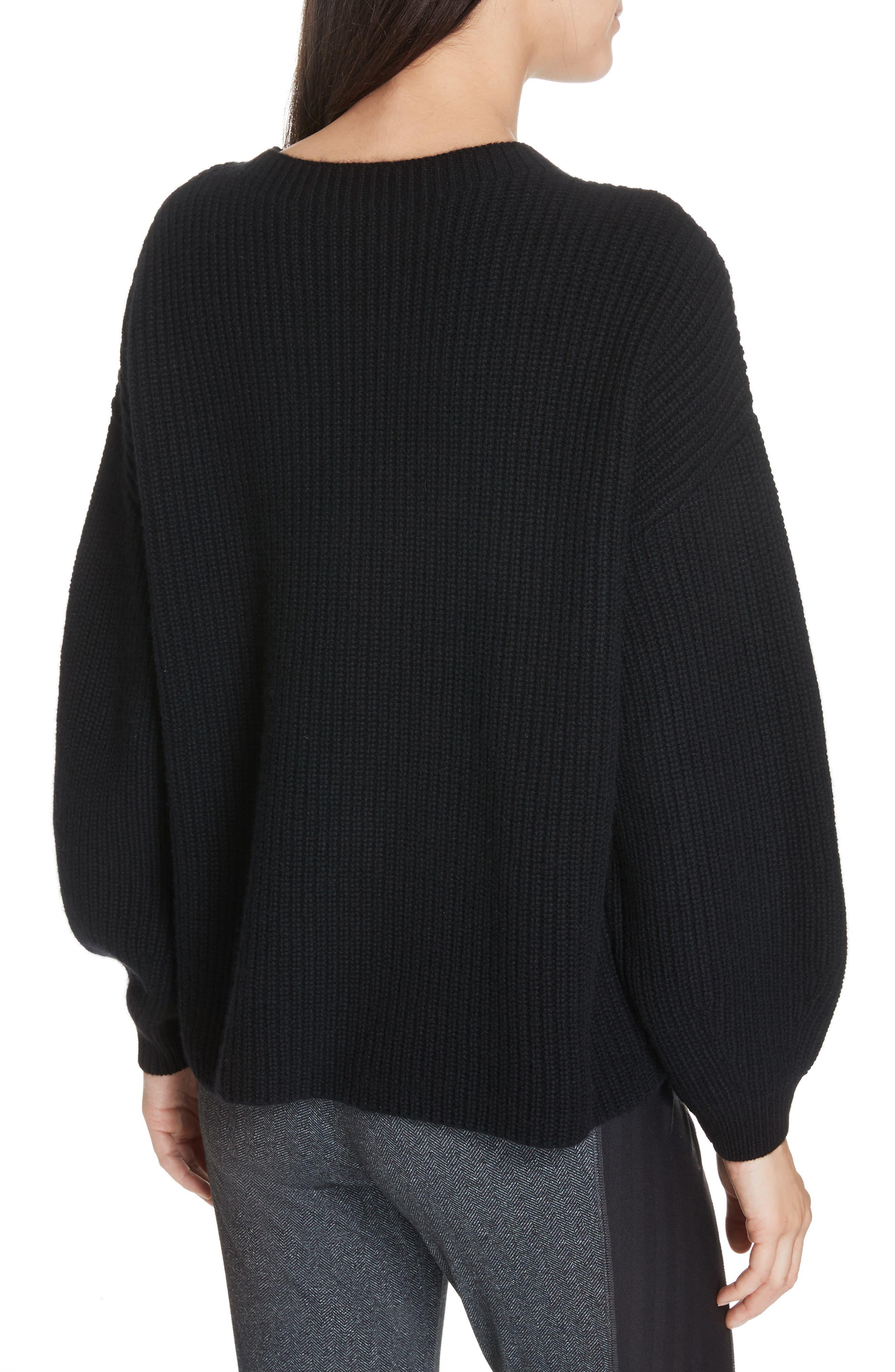 Crewneck Shaker Cashmere Sweater,                             Alternate thumbnail 2, color,                             BLACK