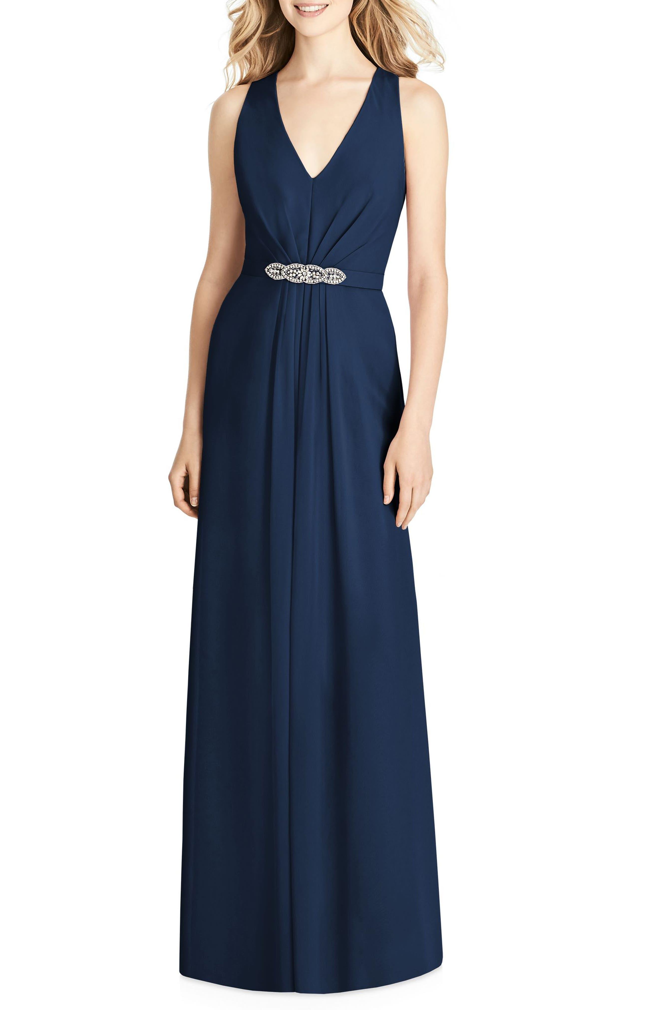 Jenny Packham Jewel Belt Chiffon Gown, Blue