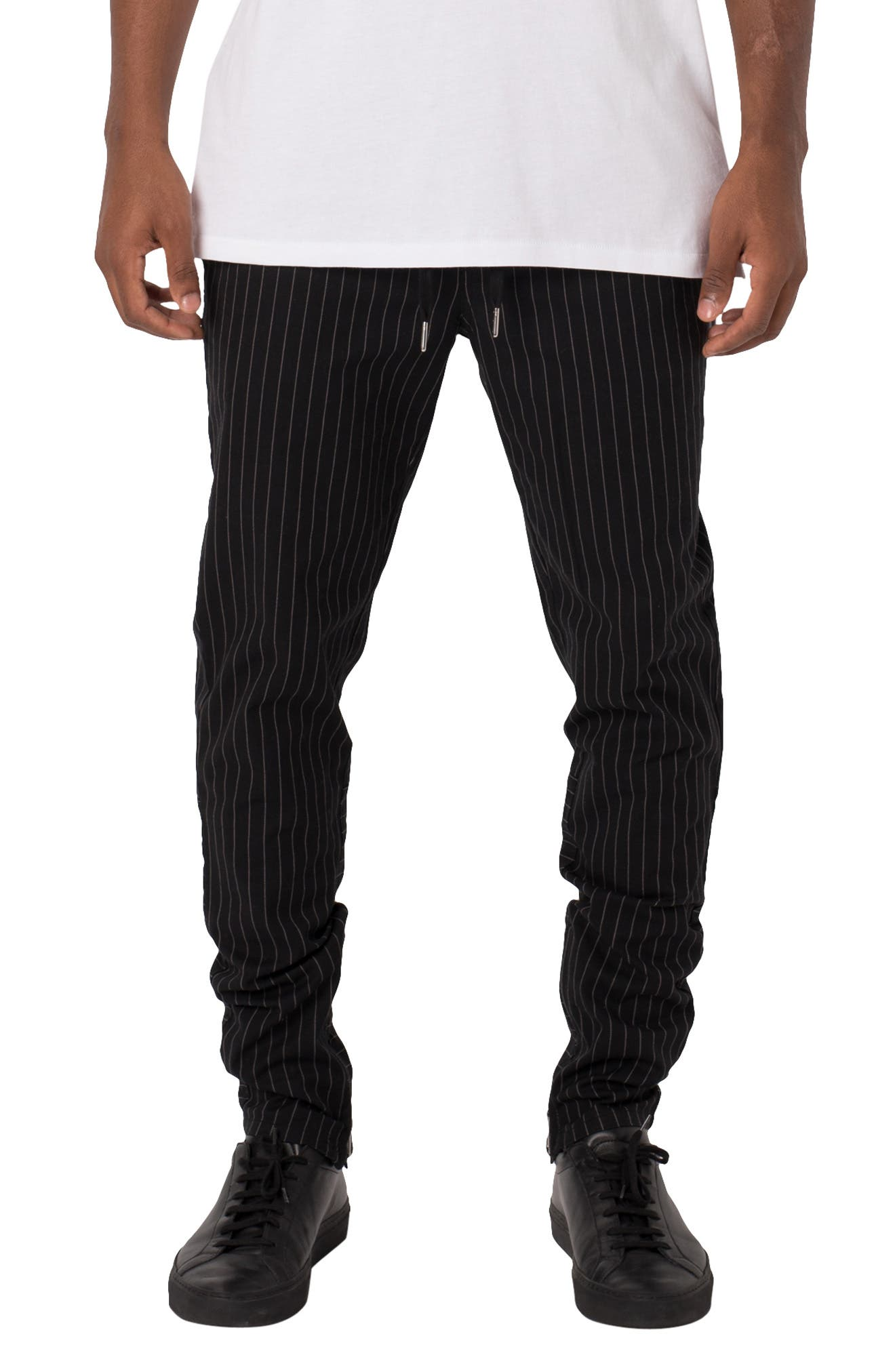 ZANEROBE,                             Unblockshot Pinstripe Chinos,                             Main thumbnail 1, color,                             BLACK/ WHITE