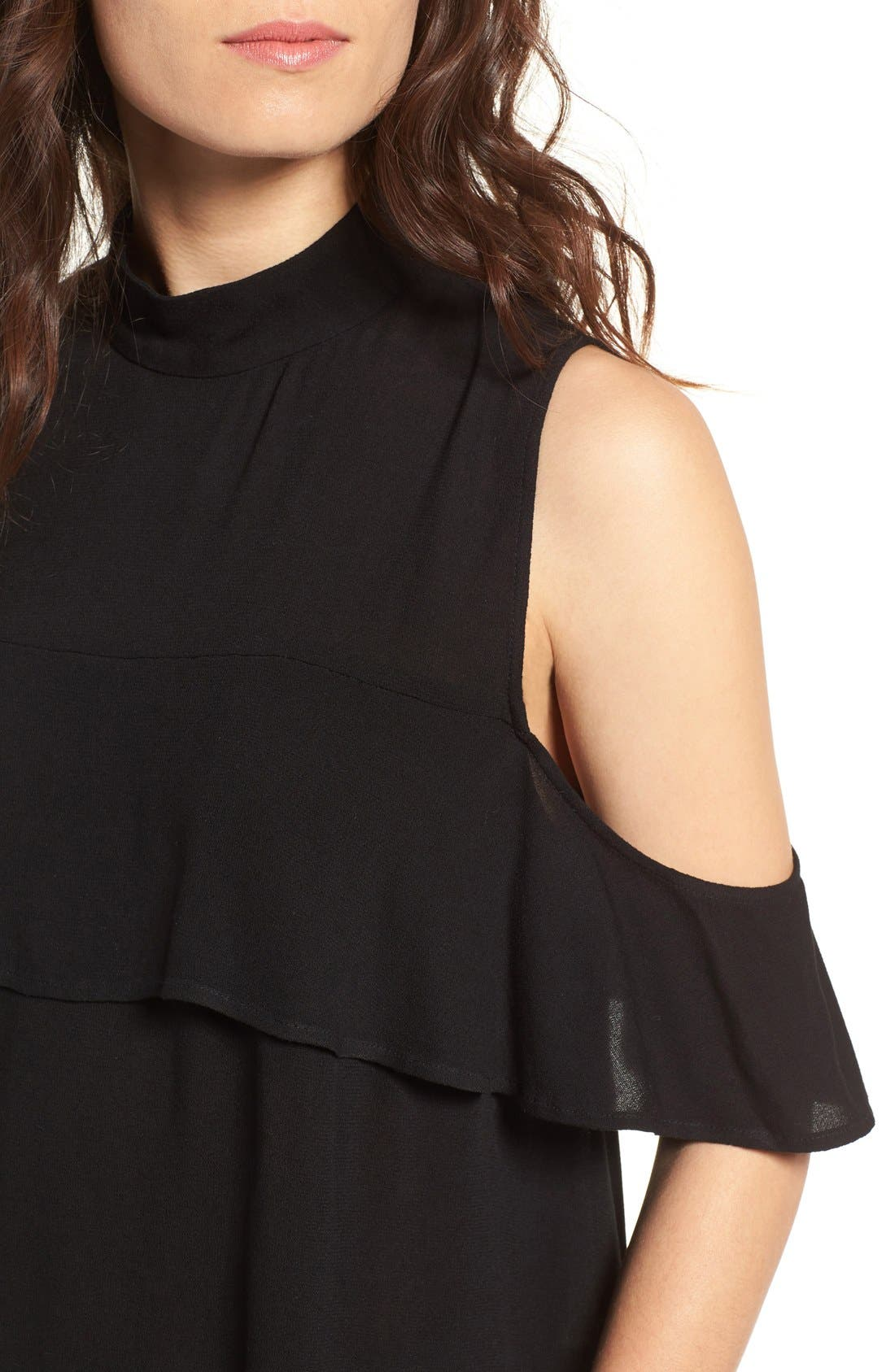 Ruffle Cold Shoulder Top,                             Alternate thumbnail 4, color,                             001