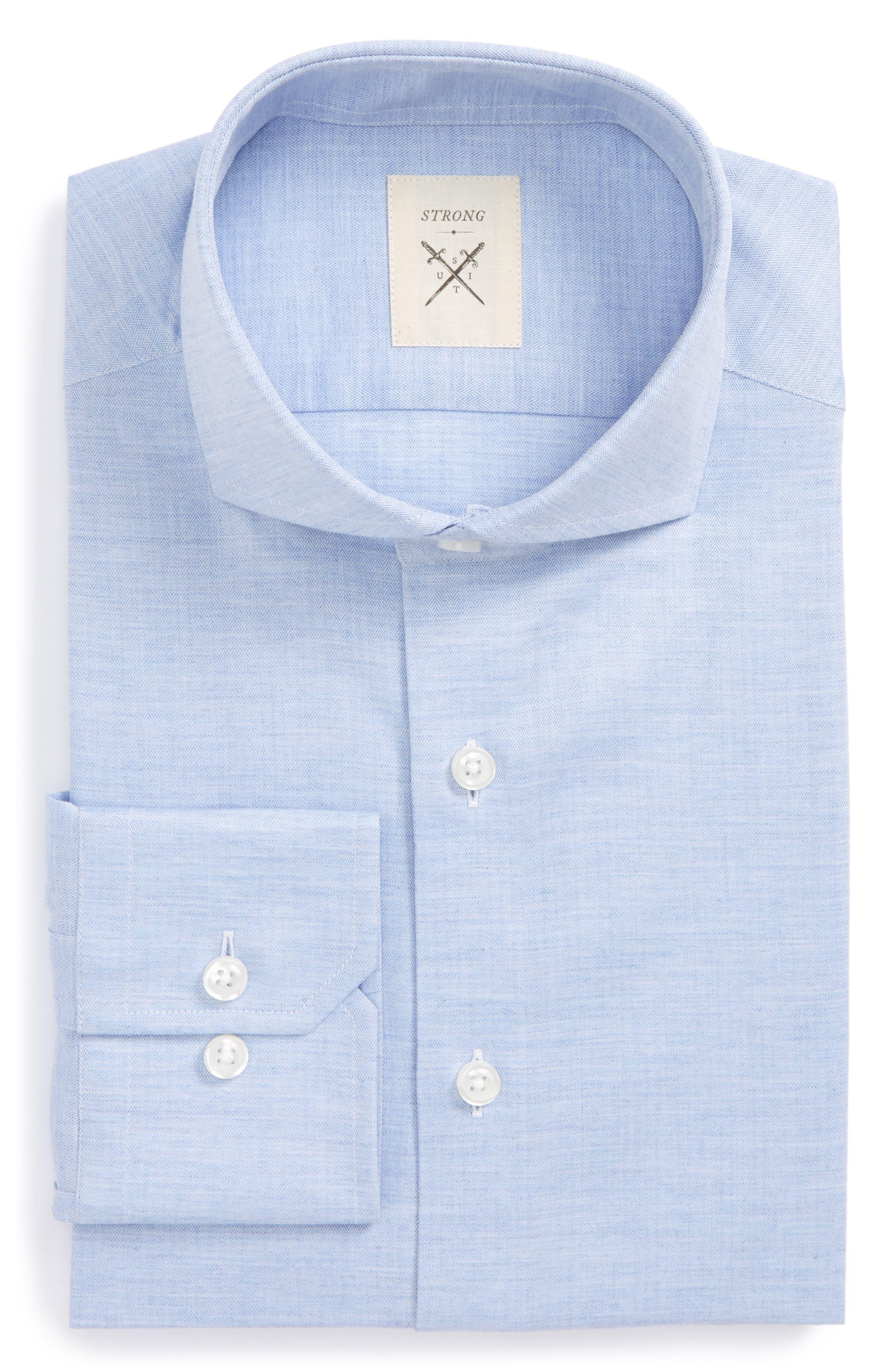 Trim Fit Herringbone Dress Shirt,                             Main thumbnail 3, color,