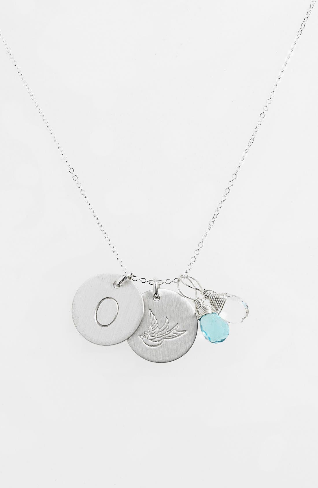 Ocean Blue & Crystal Swallow Sterling Silver Initial Disc Necklace,                             Main thumbnail 1, color,                             OCEAN BLUE AND CRYSTAL O