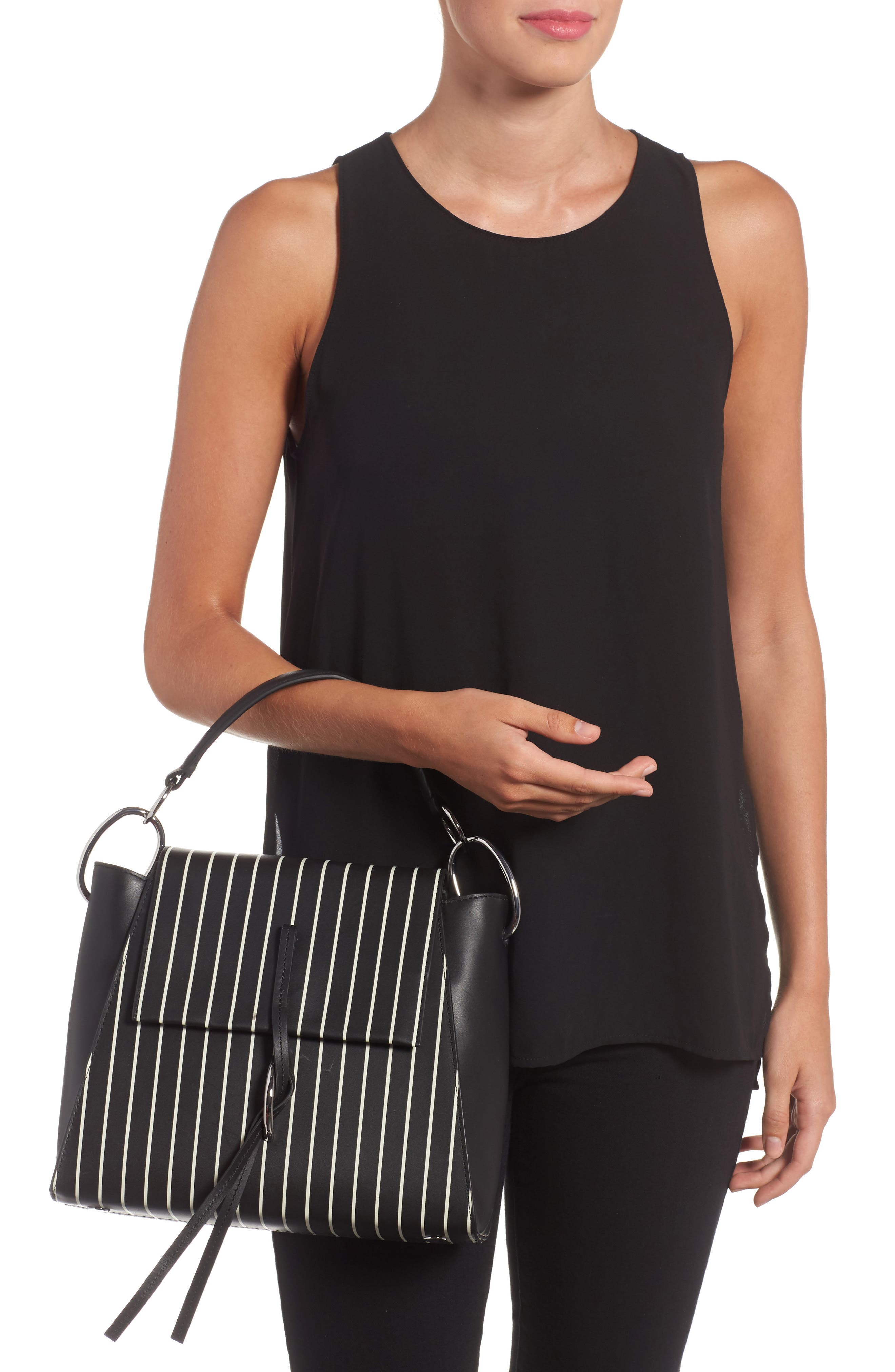 Leigh Stripe Top Handle Leather Satchel,                             Alternate thumbnail 2, color,