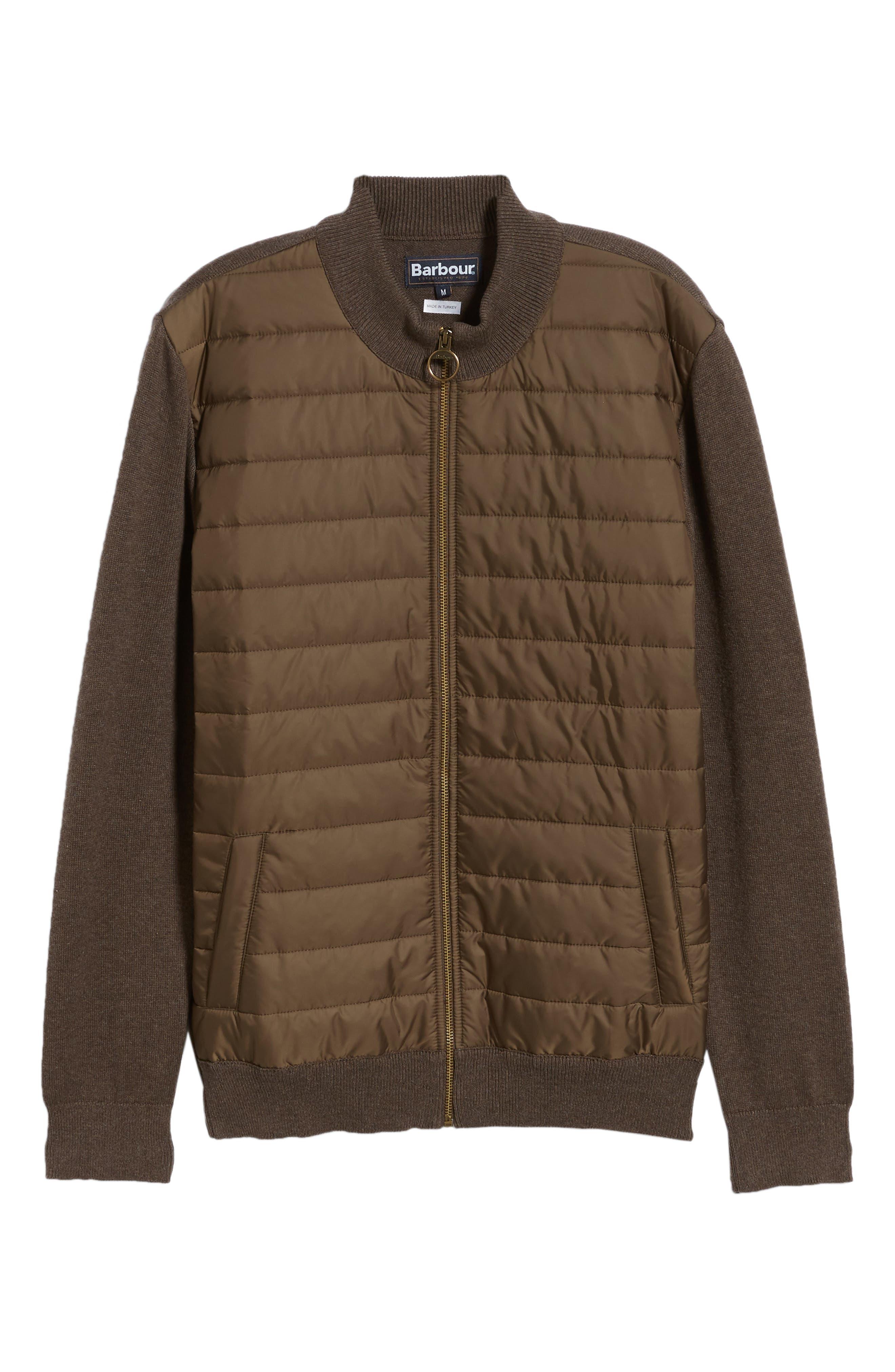 BARBOUR,                             Carn Baffle Front Knit Jacket,                             Alternate thumbnail 6, color,                             250
