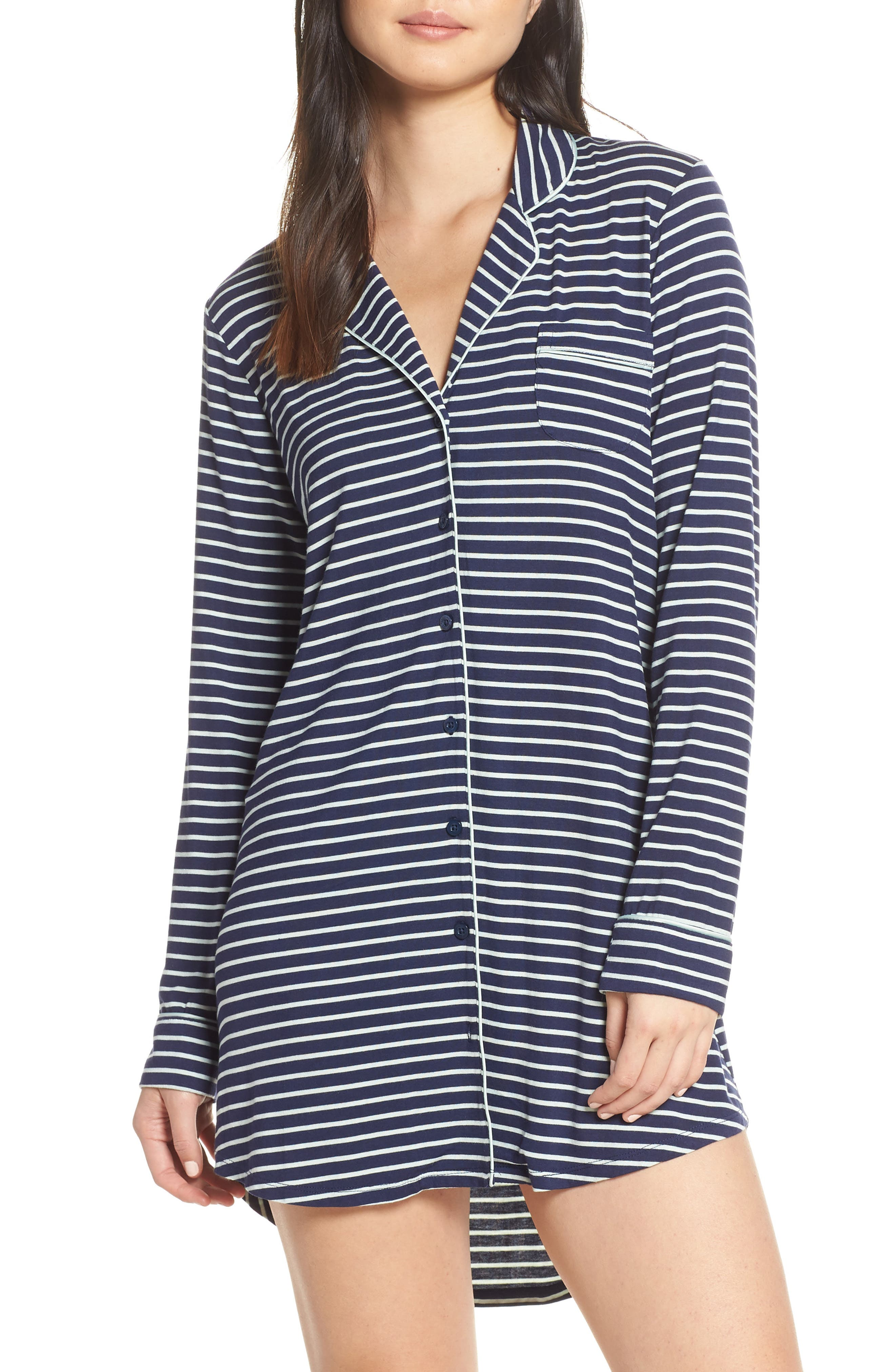 Moonlight Nightshirt,                             Main thumbnail 1, color,                             NAVY PEACOAT LOVELY STRIPE