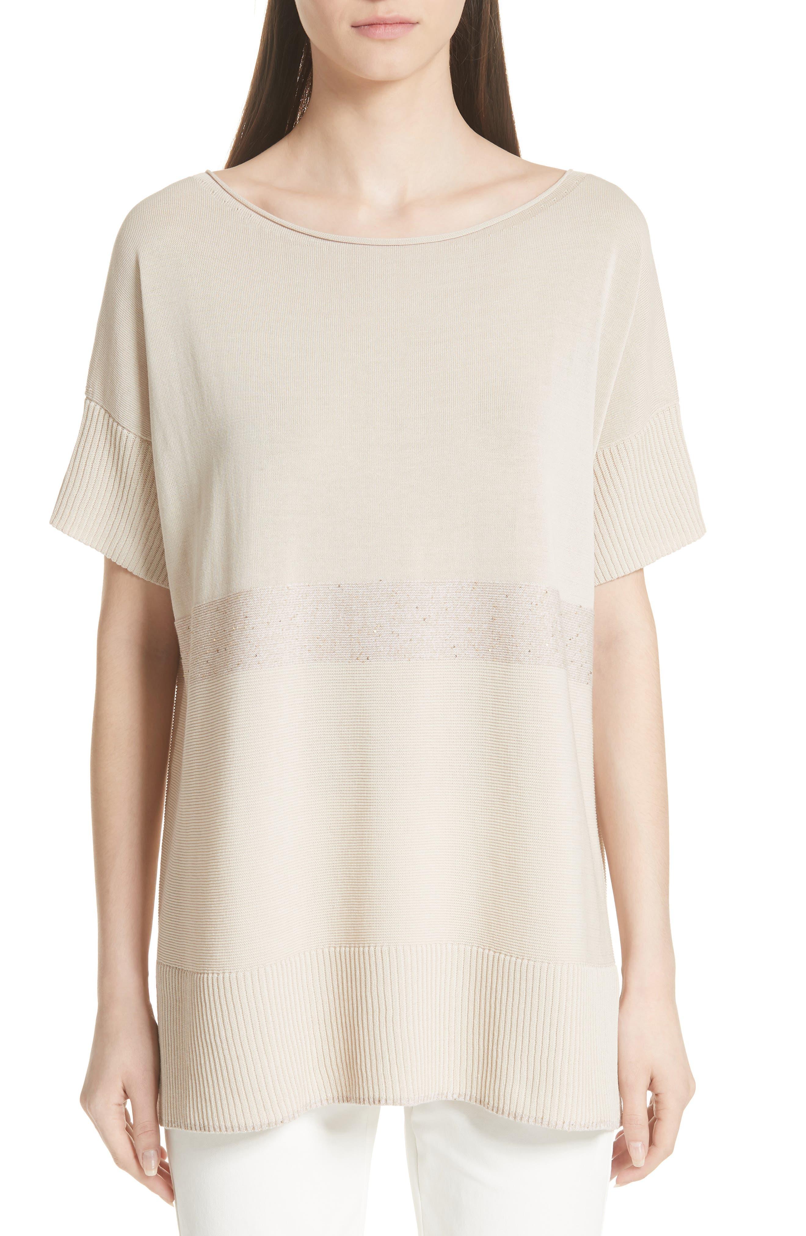 Cotton Crepe Yarn Sequin Stripe Sweater,                             Main thumbnail 1, color,                             RAFFIA MULTI