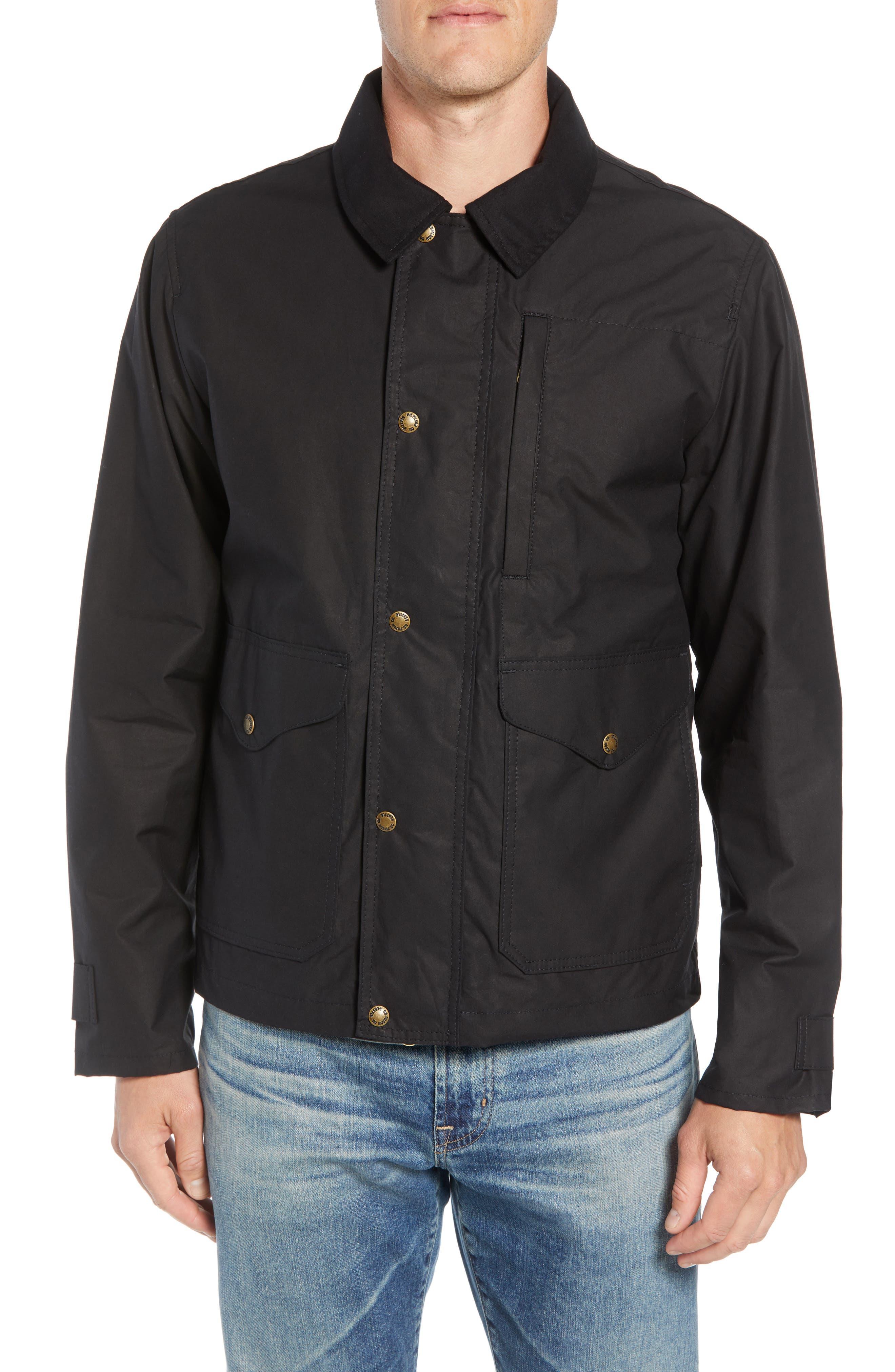Short Mile Marker Waxed Cotton Jacket,                             Alternate thumbnail 4, color,                             BLACK