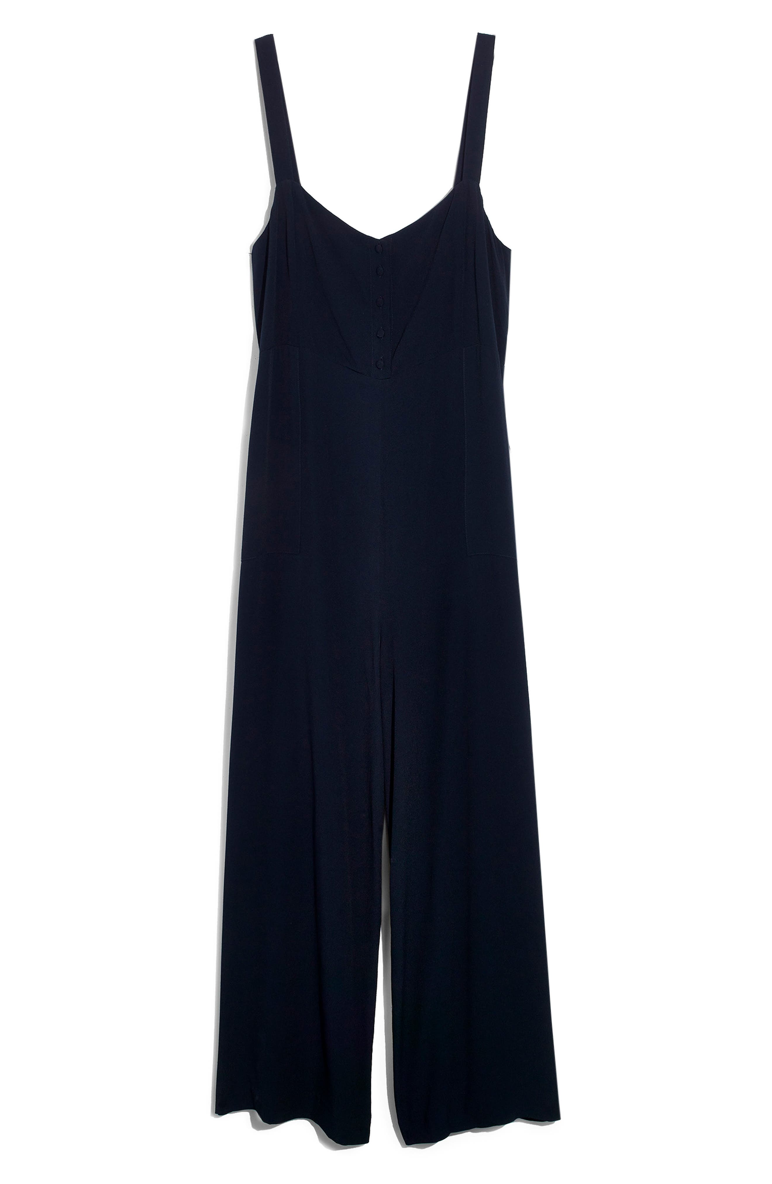 MADEWELL,                             Button Front Wide Leg Jumpsuit,                             Alternate thumbnail 4, color,                             400