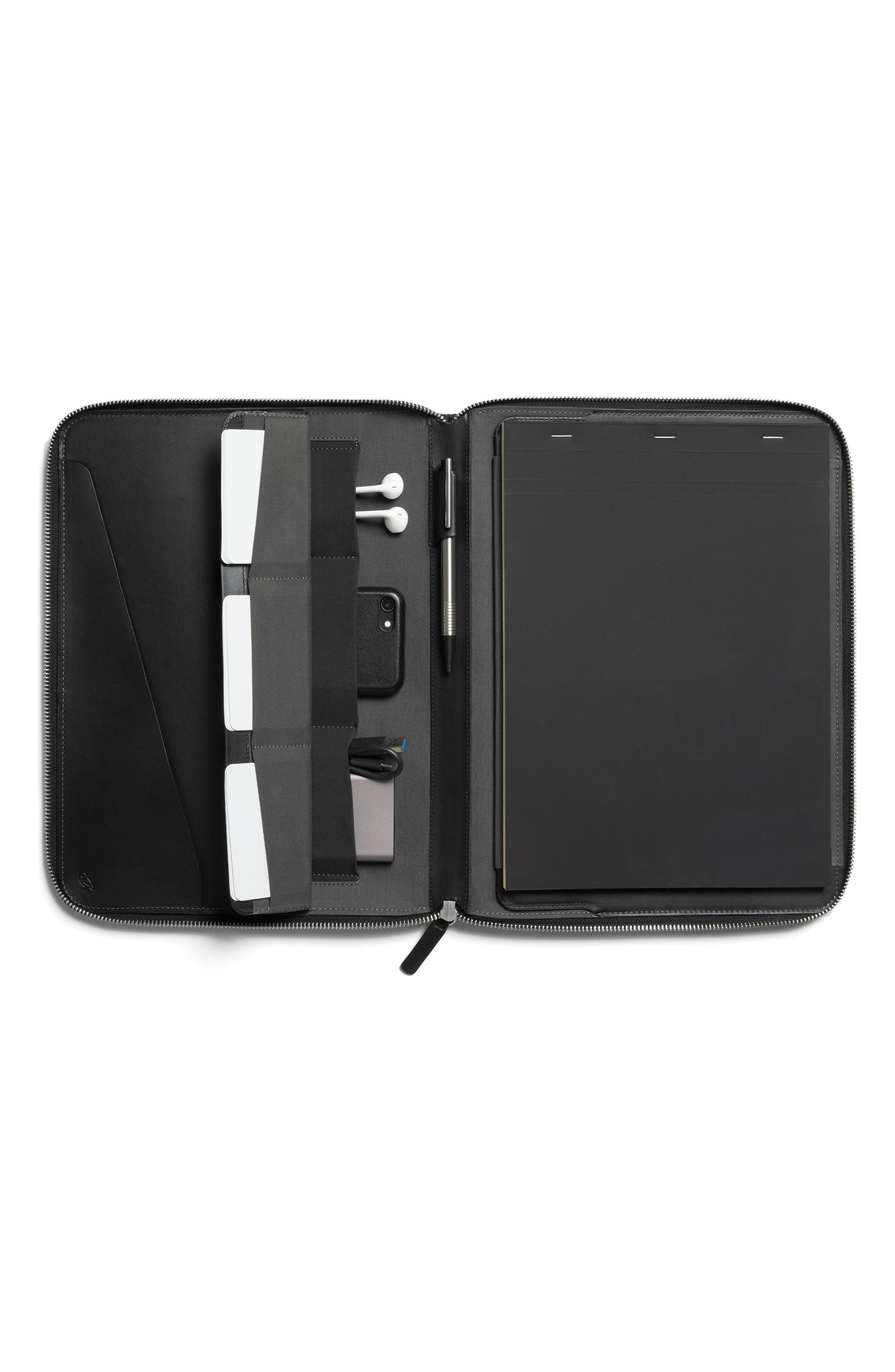 A4 Leather Work Folio,                         Main,                         color, BLACK