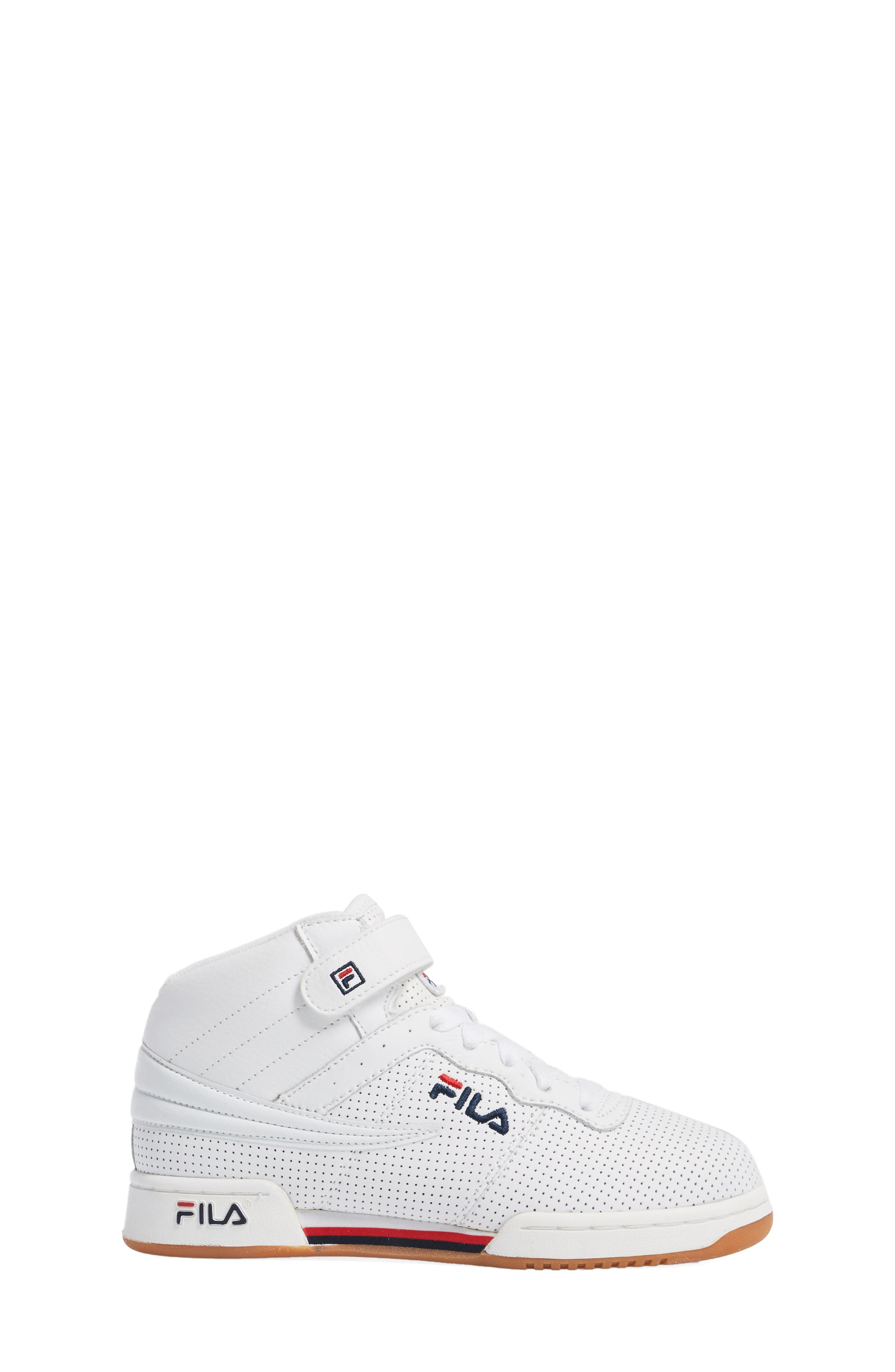 F-13 Perforated High Top Sneaker,                             Alternate thumbnail 3, color,                             WHITE/NAVY/RED