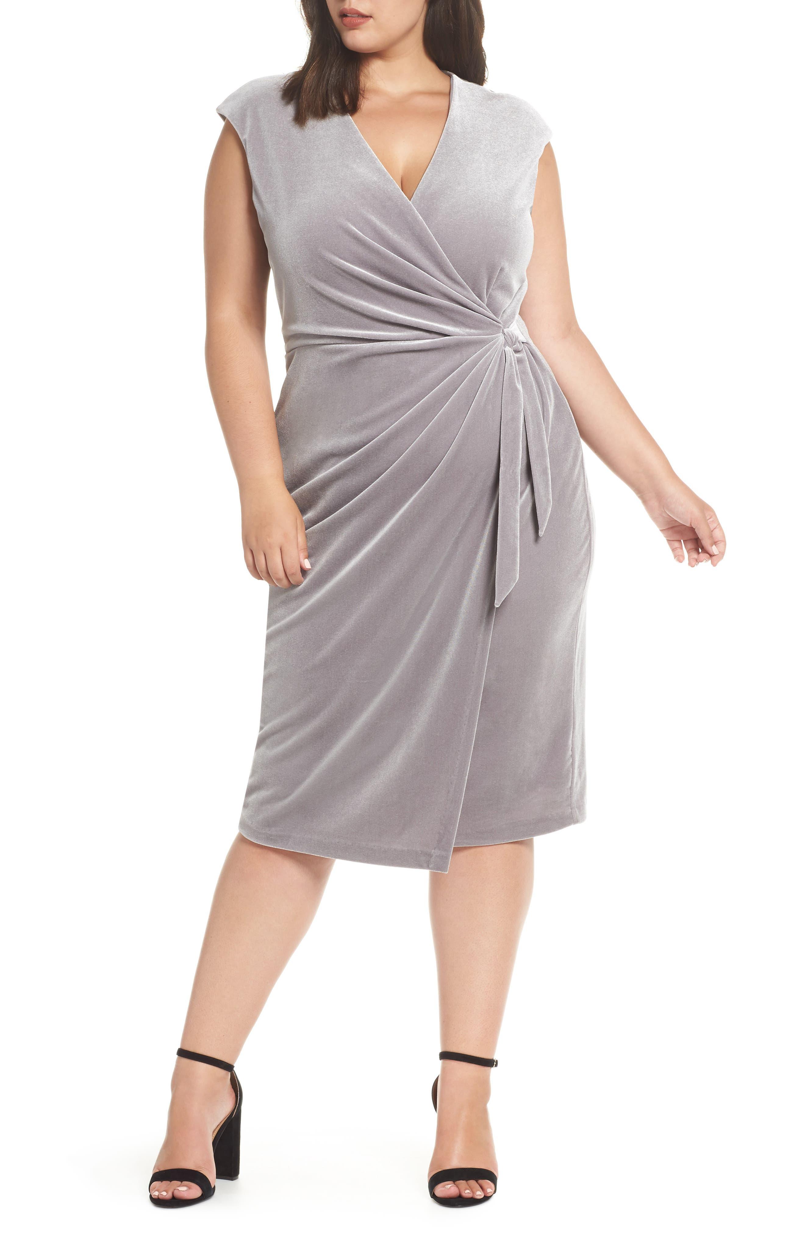 60s 70s Plus Size Dresses, Clothing, Costumes Plus Size Womens Maggy London Velvet Wrap Dress $88.80 AT vintagedancer.com