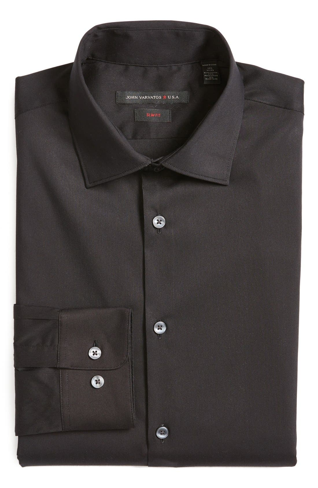 Slim Fit Solid Stretch Cotton Dress Shirt,                         Main,                         color, 001