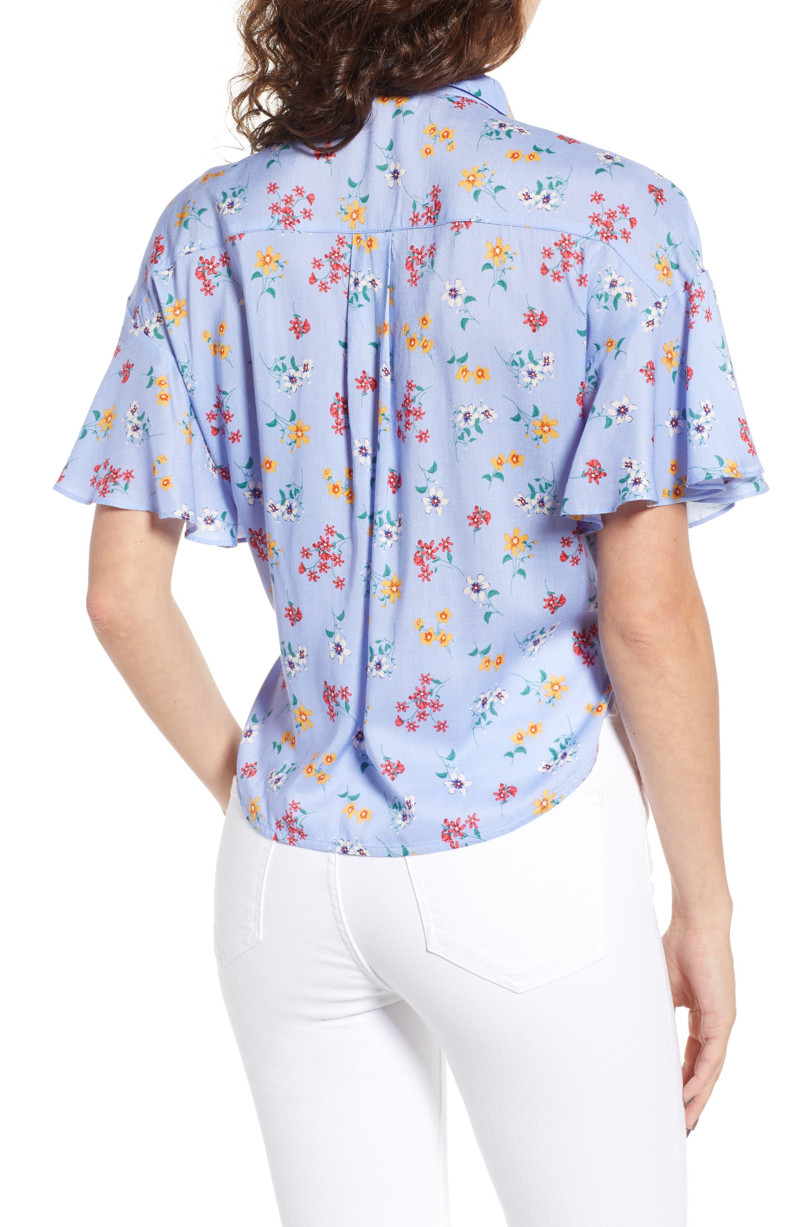 Floral Tie Hem Flutter Sleeve Top,                             Alternate thumbnail 2, color,                             400