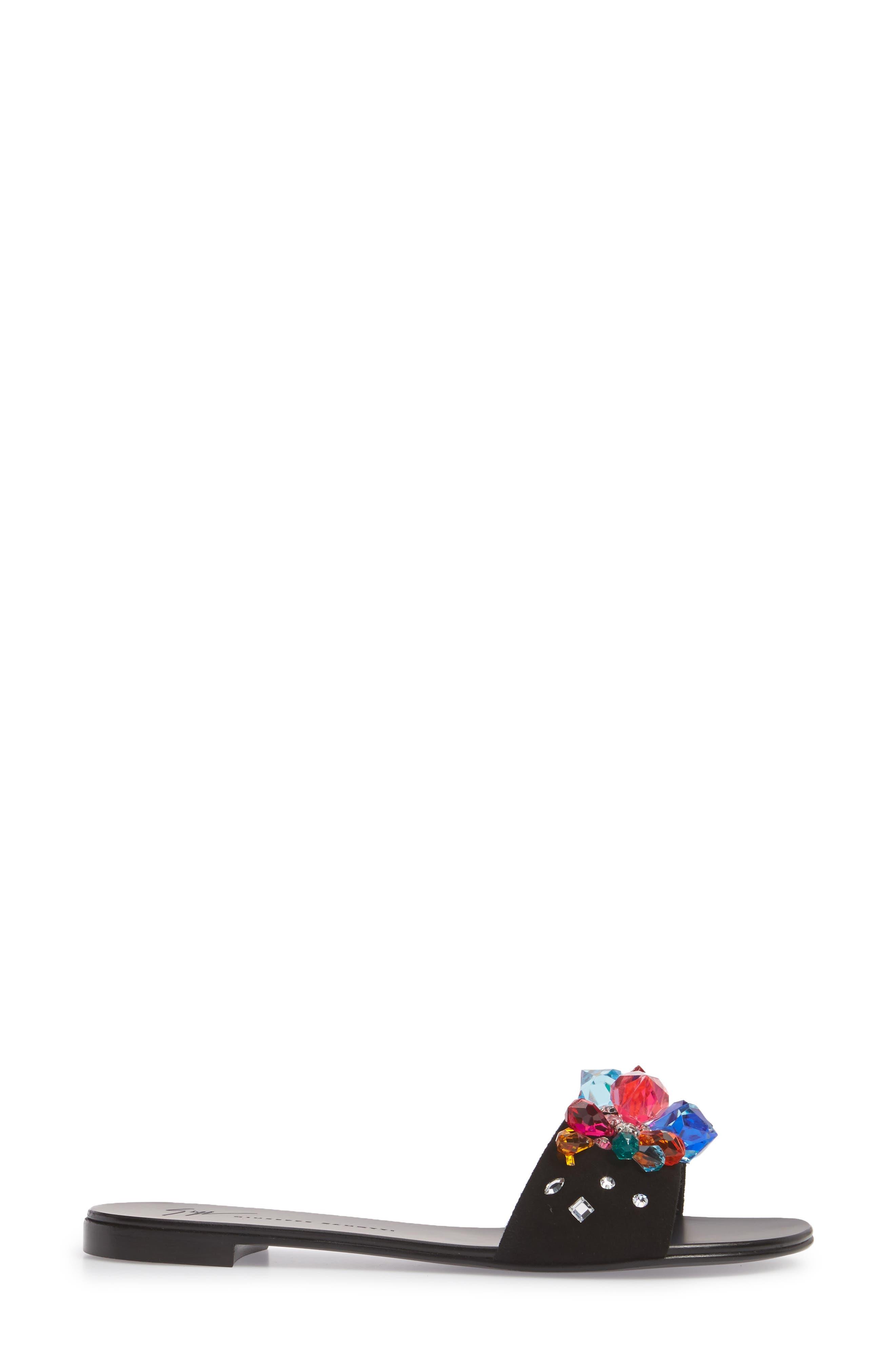 Embellished Slide Sandal,                             Alternate thumbnail 3, color,                             001