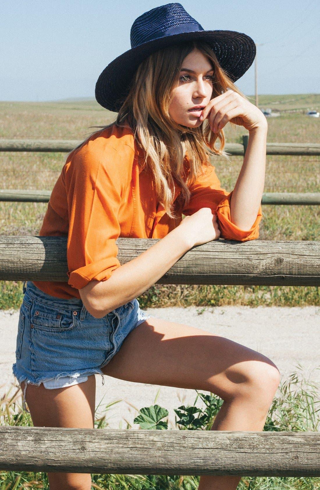 'Joanna' Straw Hat,                             Alternate thumbnail 4, color,                             MIDNIGHT