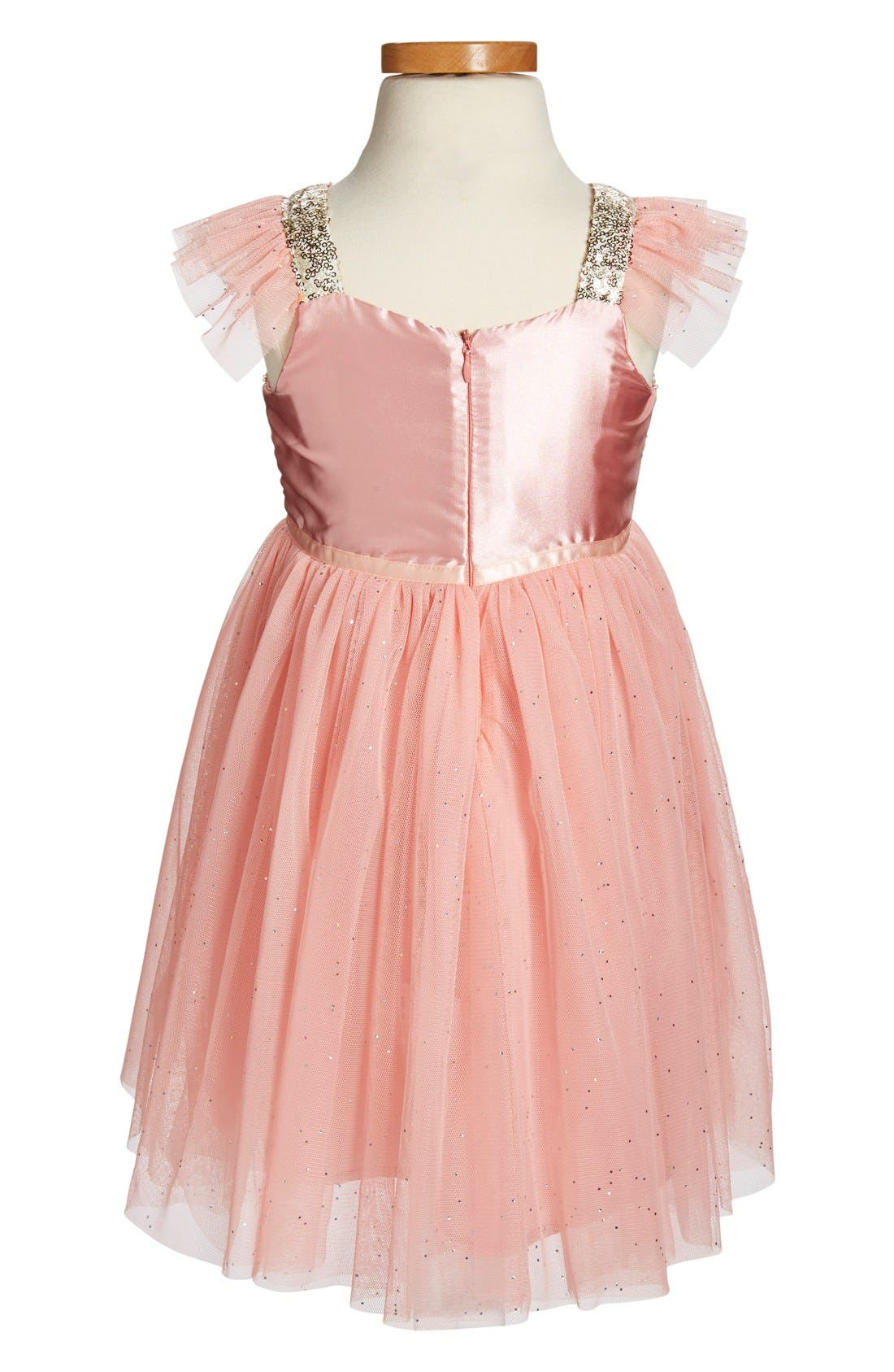 Sequin Bodice Tulle Dress,                             Alternate thumbnail 2, color,                             PEACH