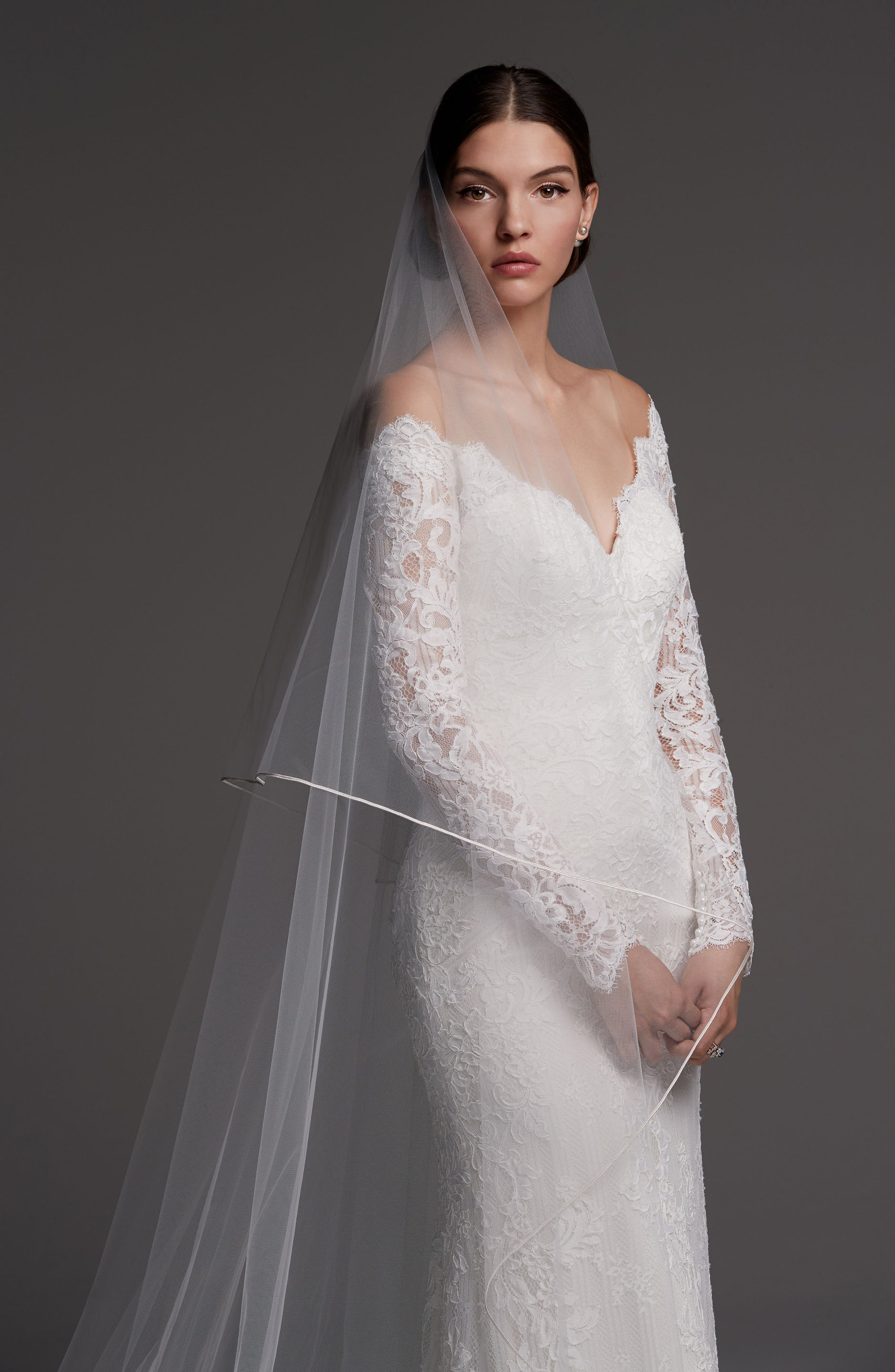 Visconti Long Sleeve Lace Gown,                             Alternate thumbnail 3, color,                             IVORY/ OYSTER