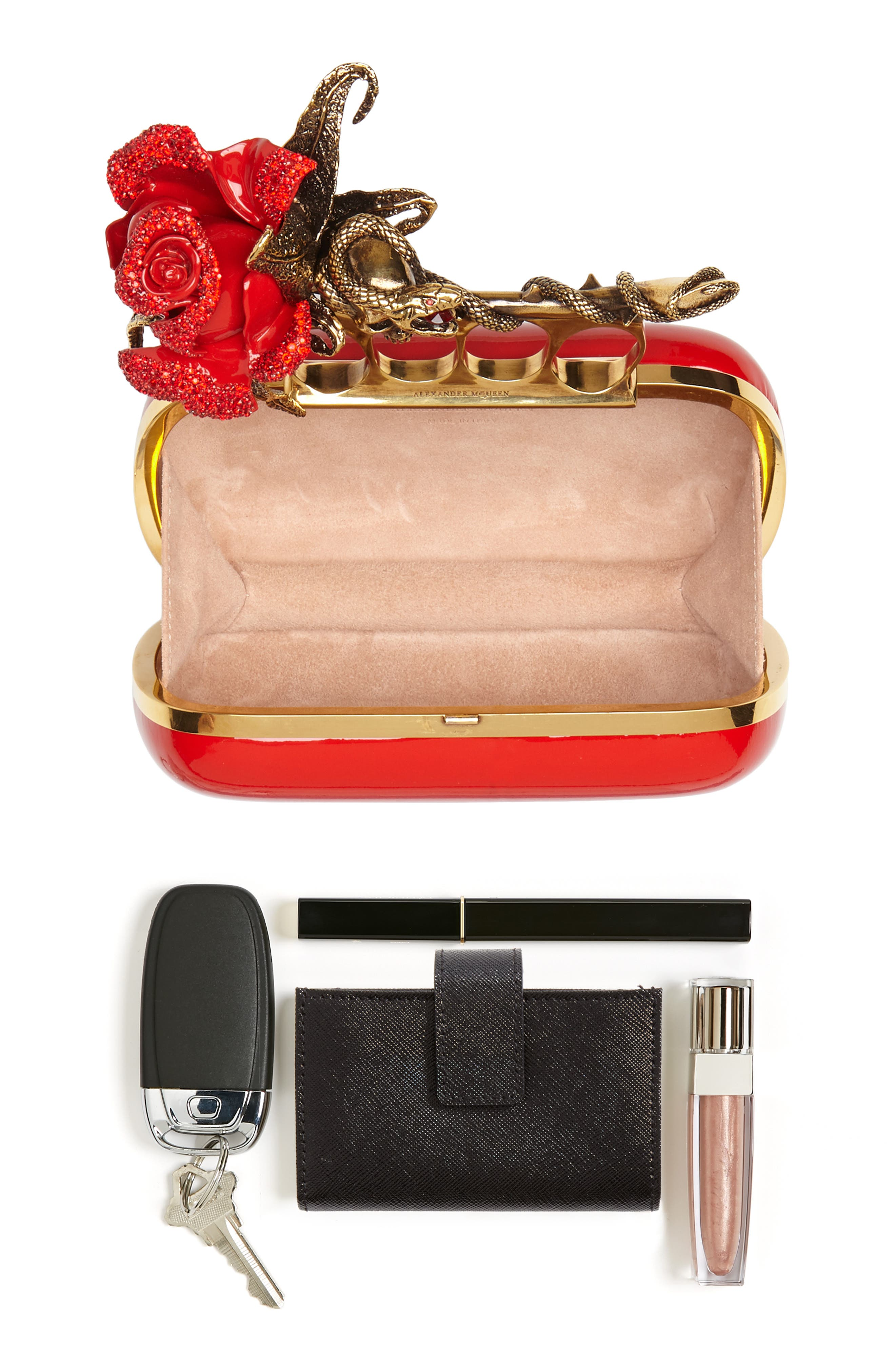 Knuckle Clasp Patent Leather Box Clutch,                             Alternate thumbnail 7, color,                             624
