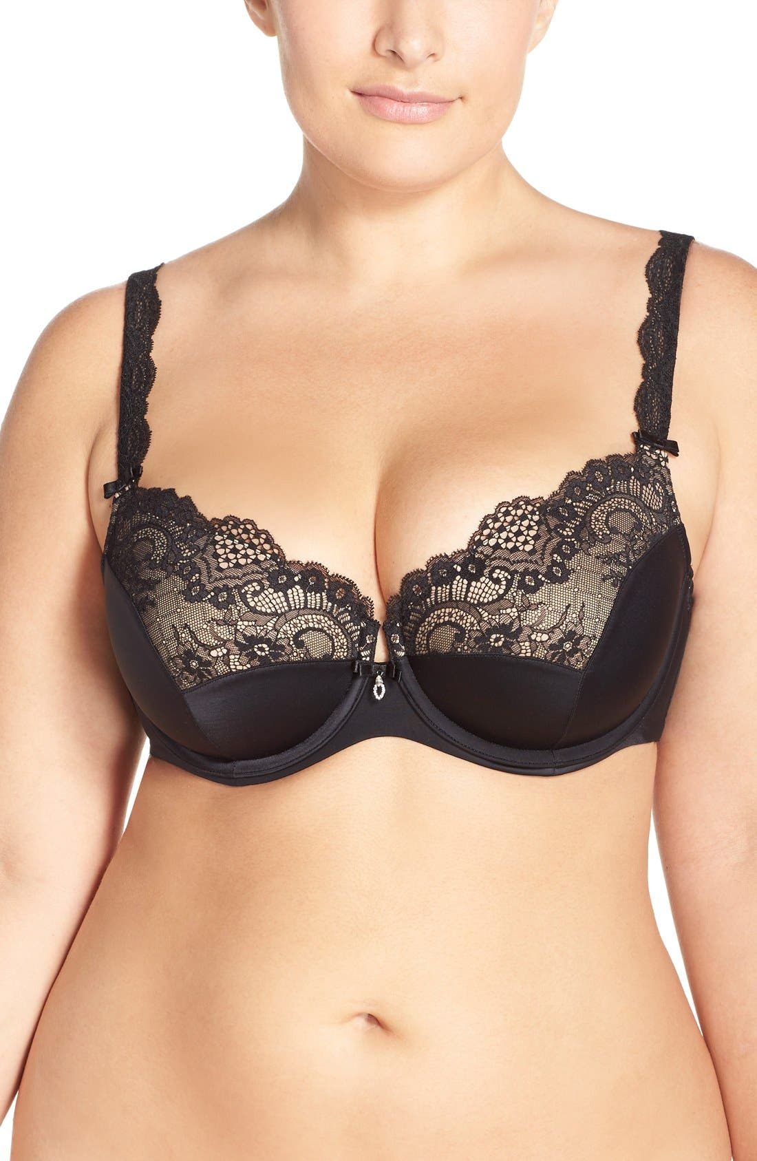 'Foxy' Lace Balconette Bra,                             Main thumbnail 1, color,                             BLACK
