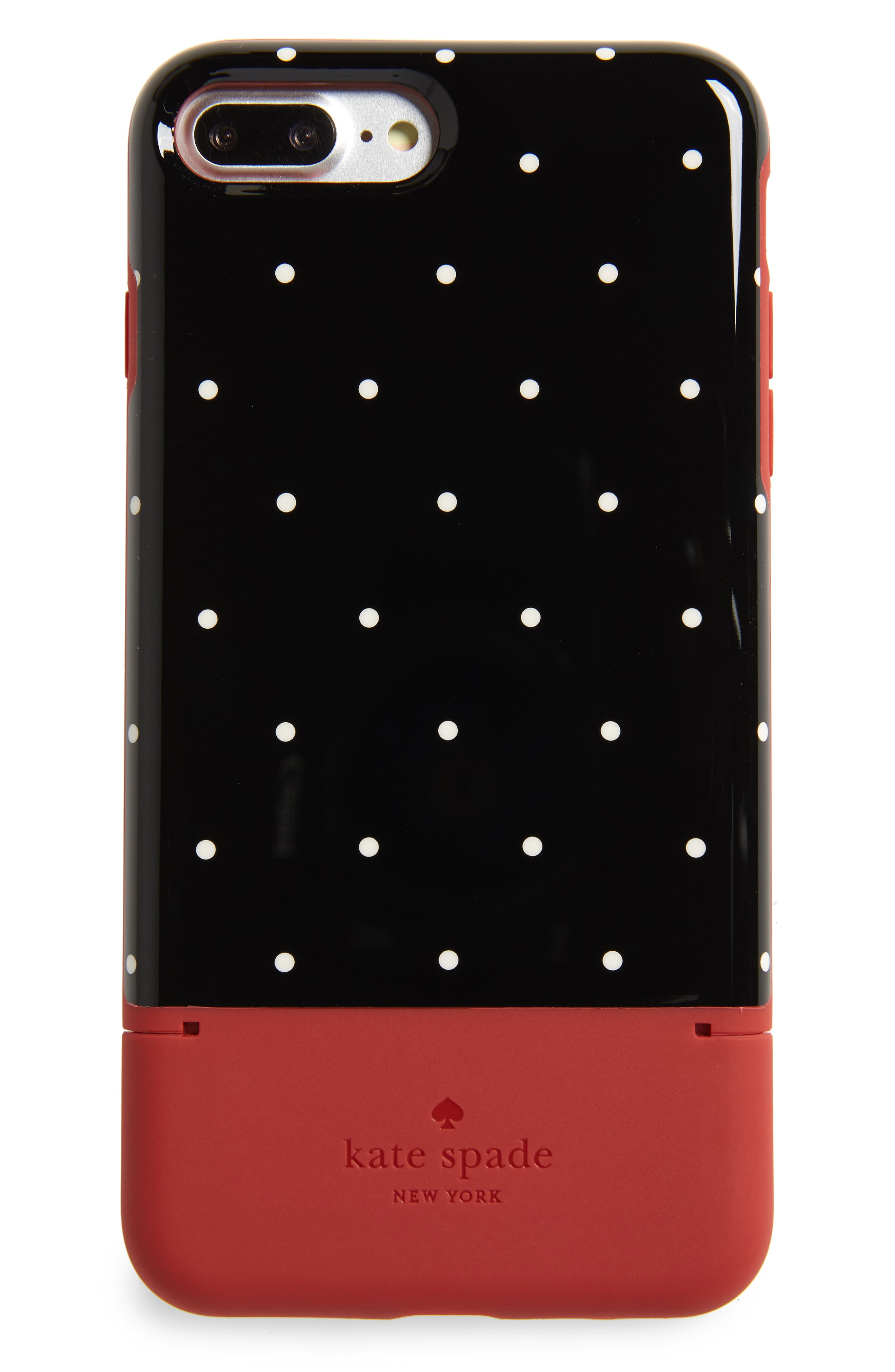 dot iPhone 7/8 Plus case & card holder,                         Main,                         color, HEIRLOOM RED