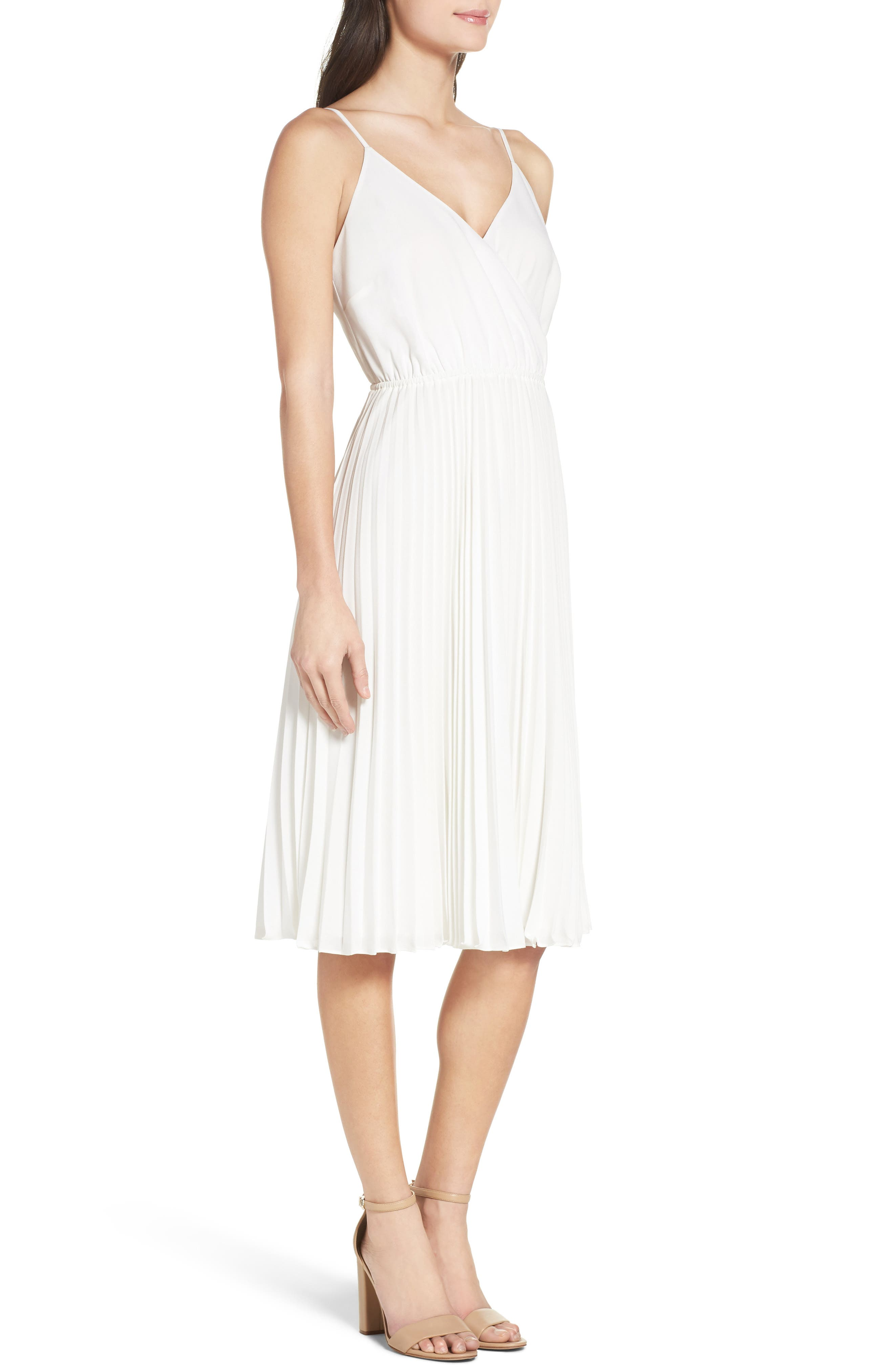 Lily Pond Fit & Flare Dress,                             Alternate thumbnail 3, color,                             WHITE