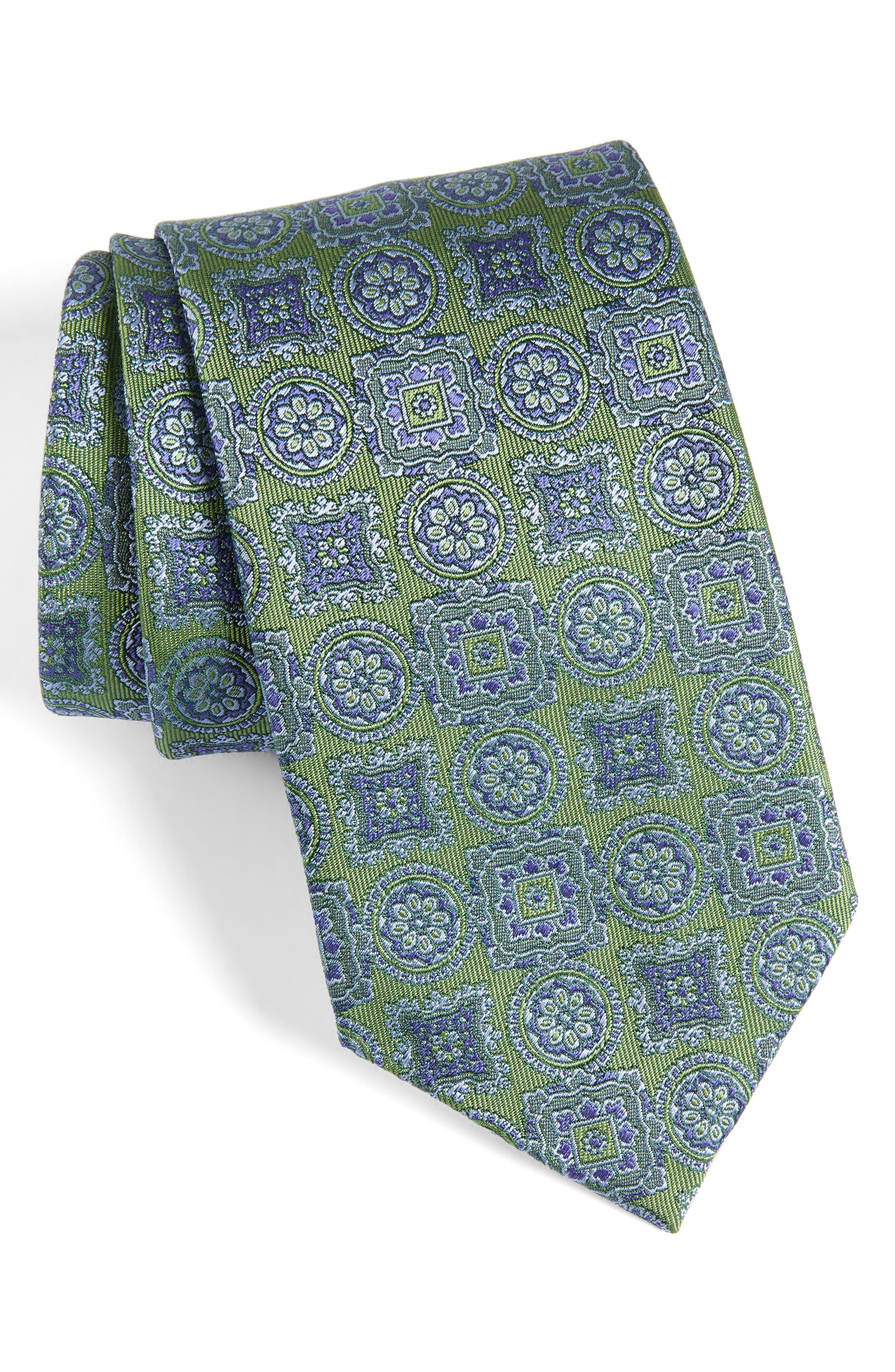 Medallion Silk Tie,                             Main thumbnail 1, color,