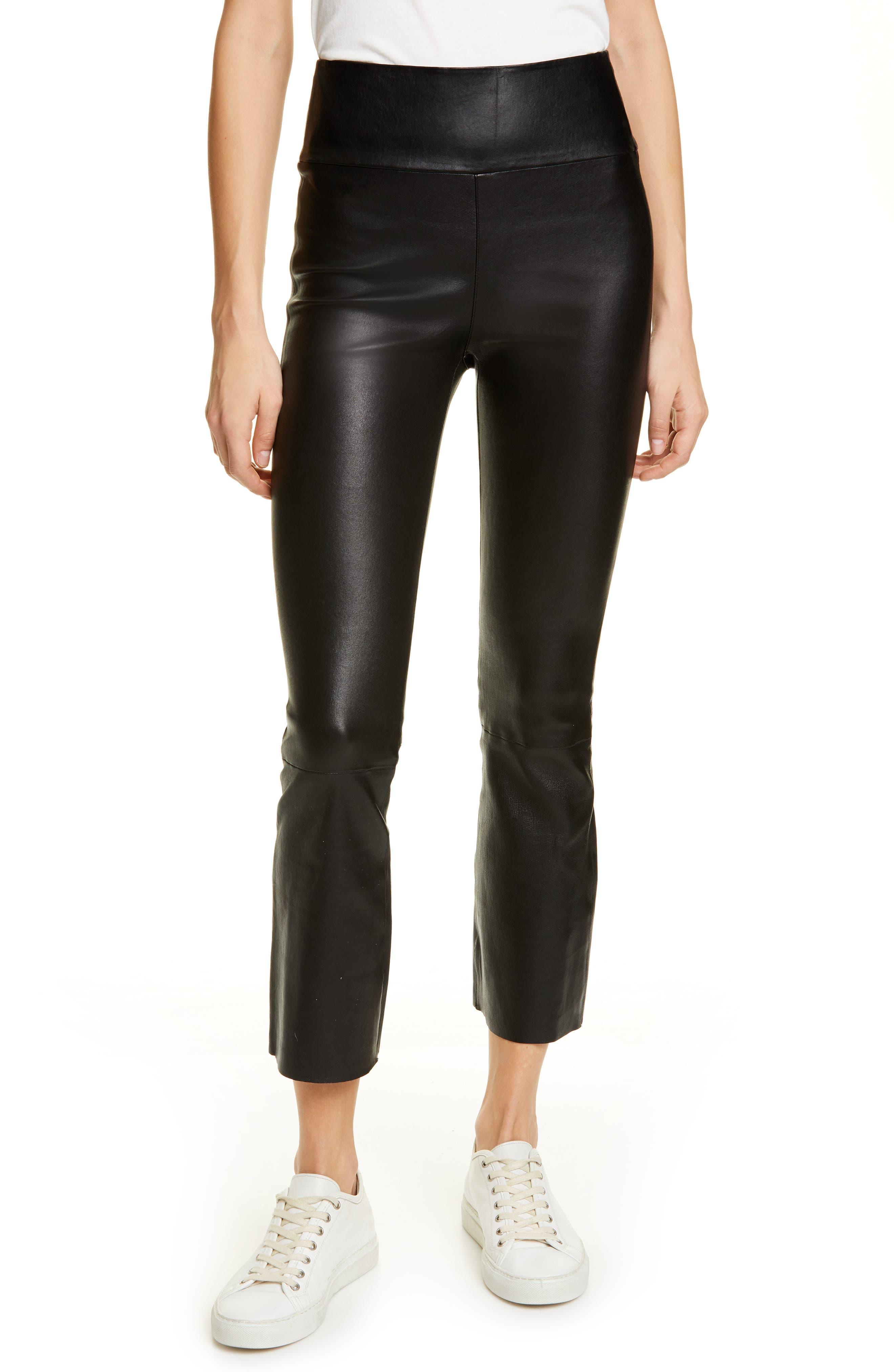 Sprwmn Crop Flare Leather Pants, Black