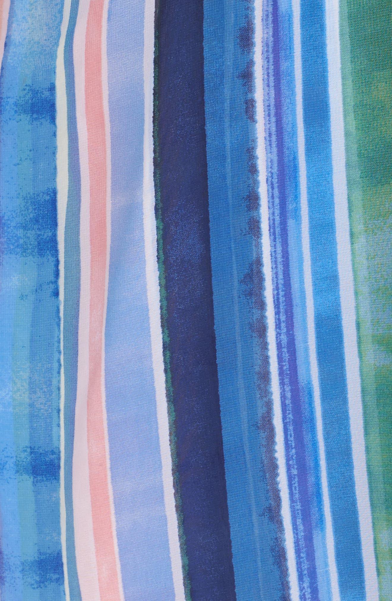 Stripe Faux Wrap Dress,                             Alternate thumbnail 5, color,