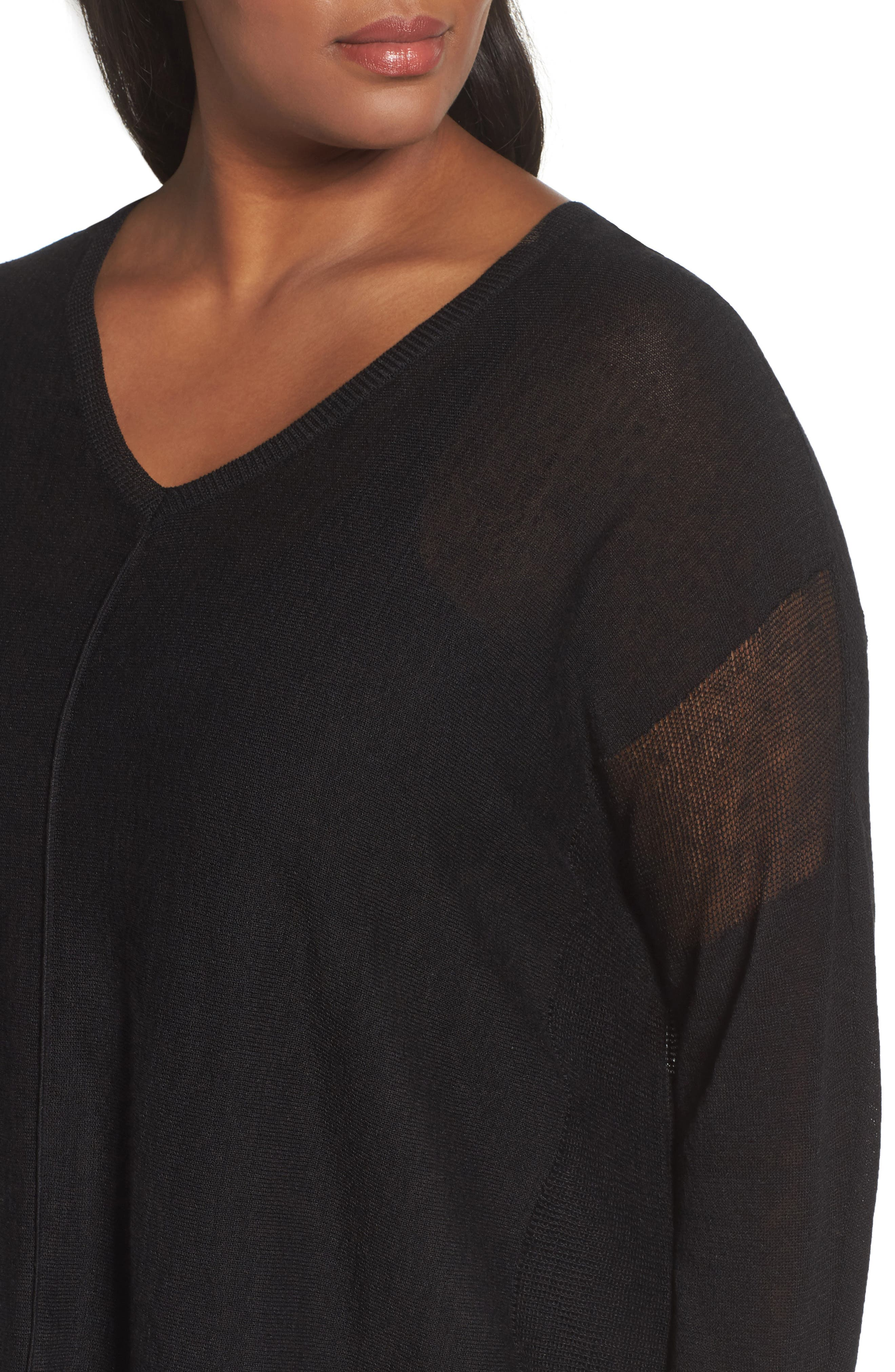Sheer Inset Linen Blend Tunic Top,                             Alternate thumbnail 4, color,                             001