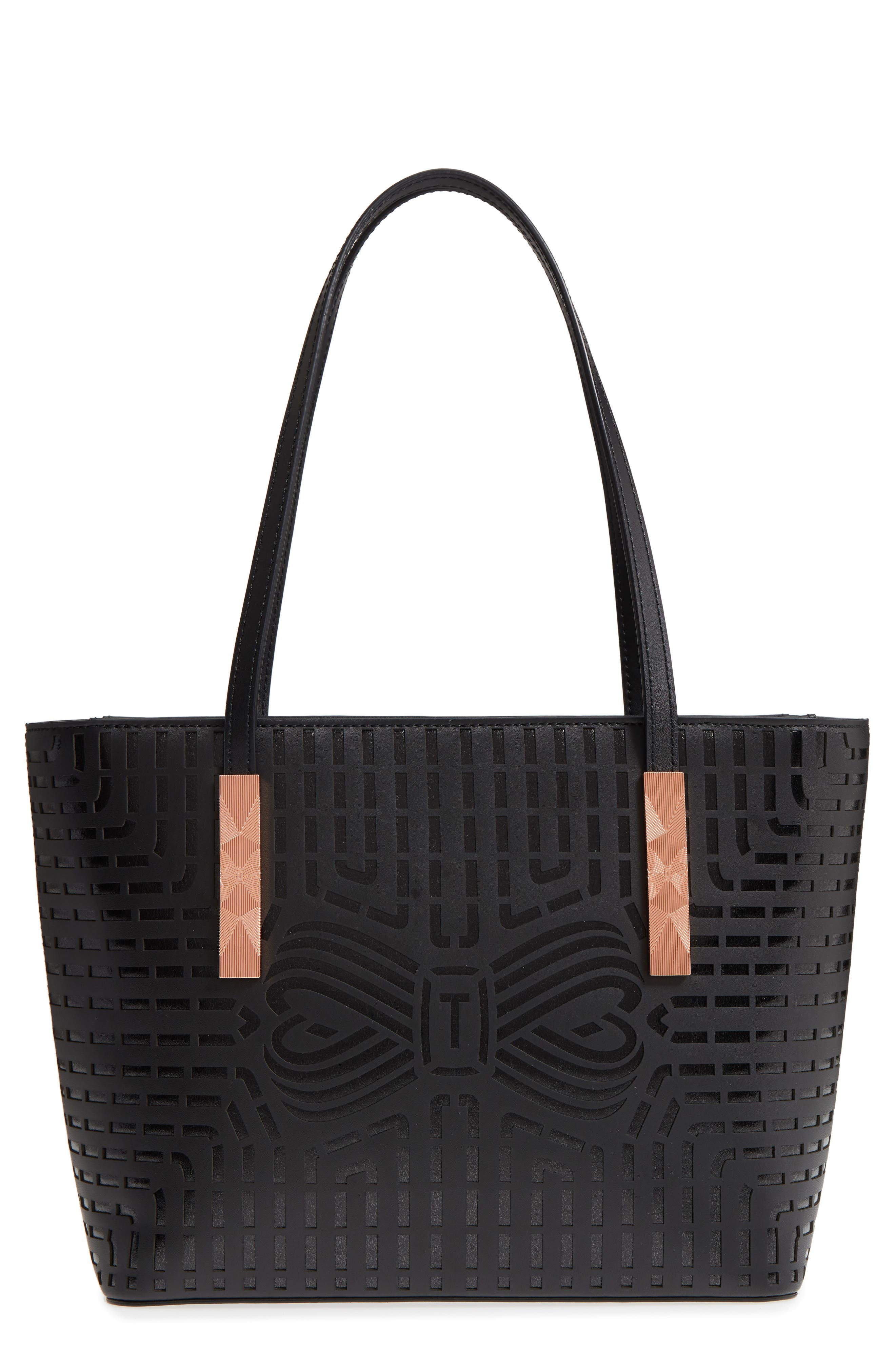 Breanna Perforated Bow Leather Shopper,                         Main,                         color, 001