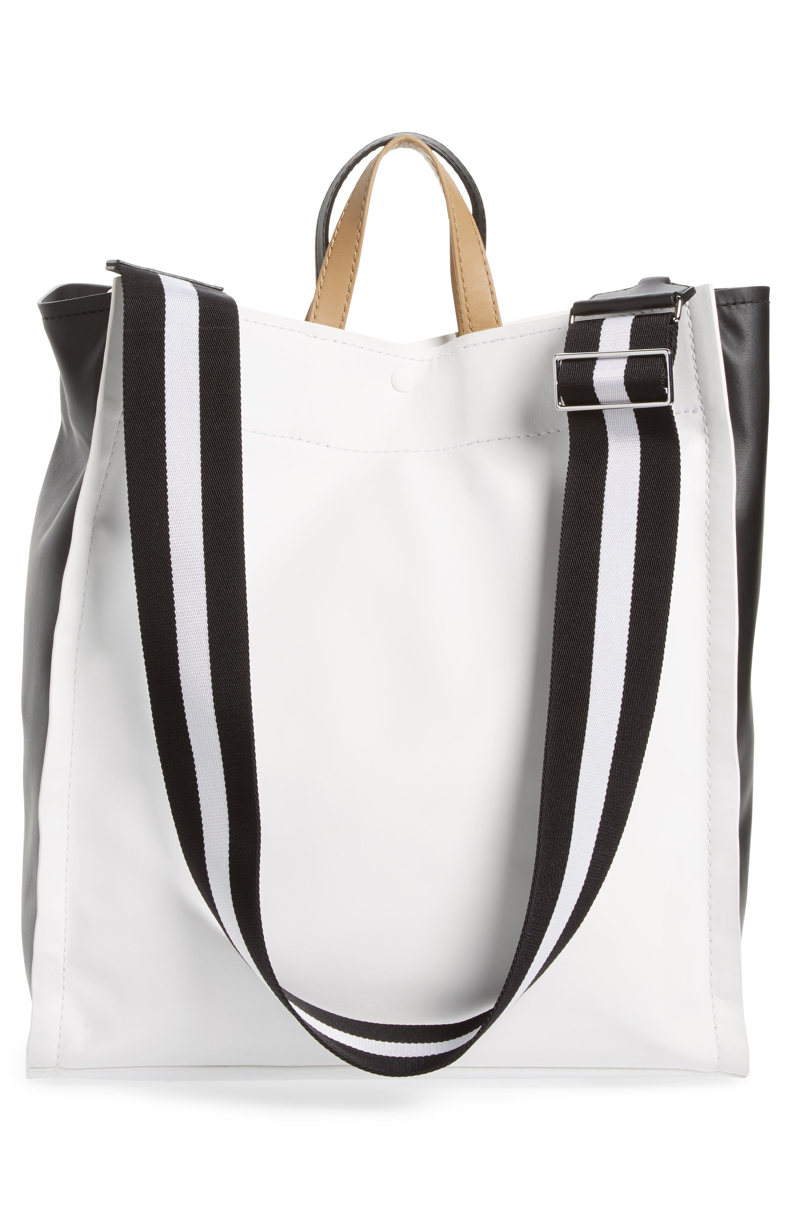 Leather Accordion Tote,                             Alternate thumbnail 3, color,                             101