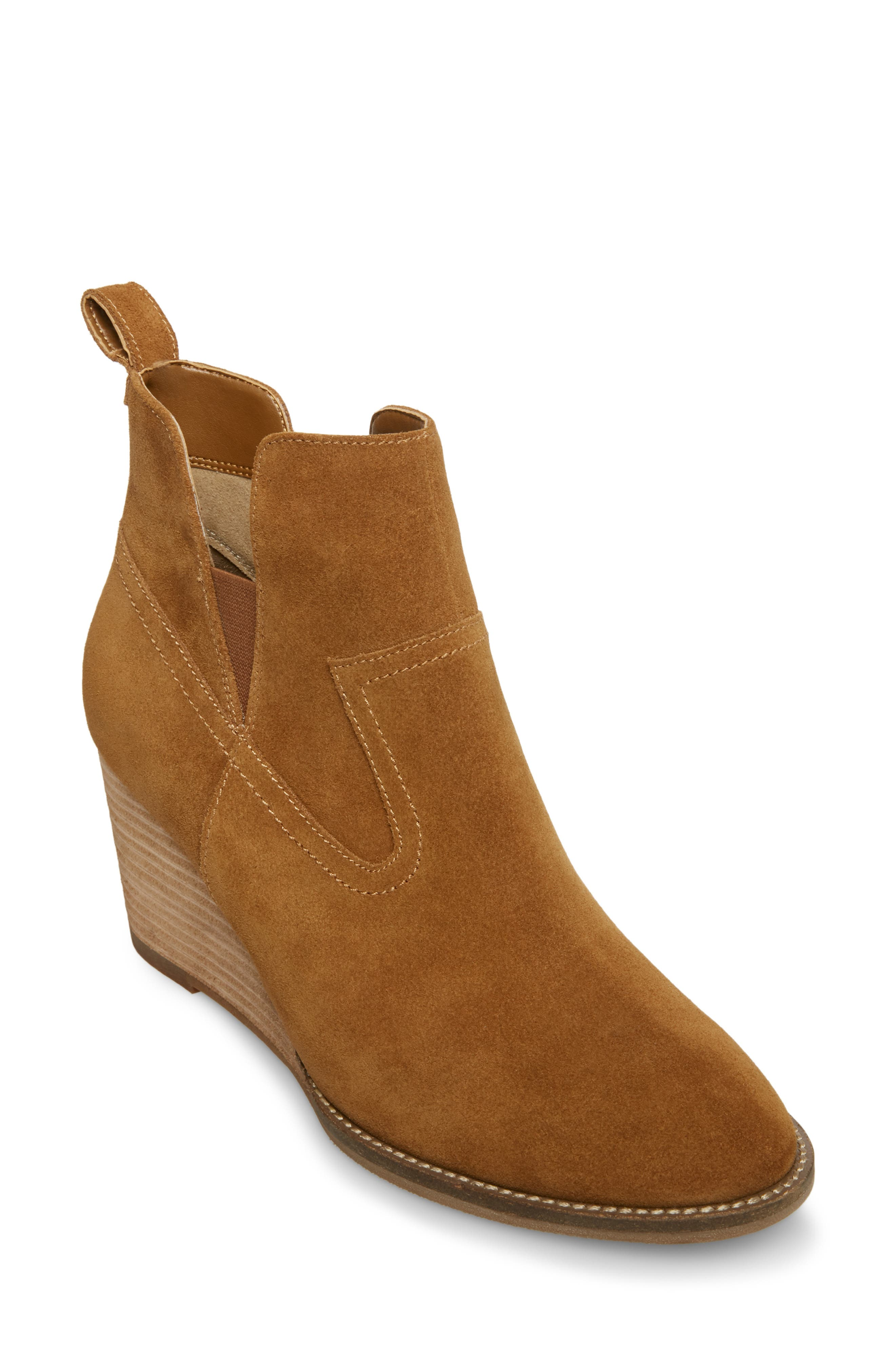 Irving Waterproof Wedge Bootie,                             Main thumbnail 1, color,                             CAMEL SUEDE