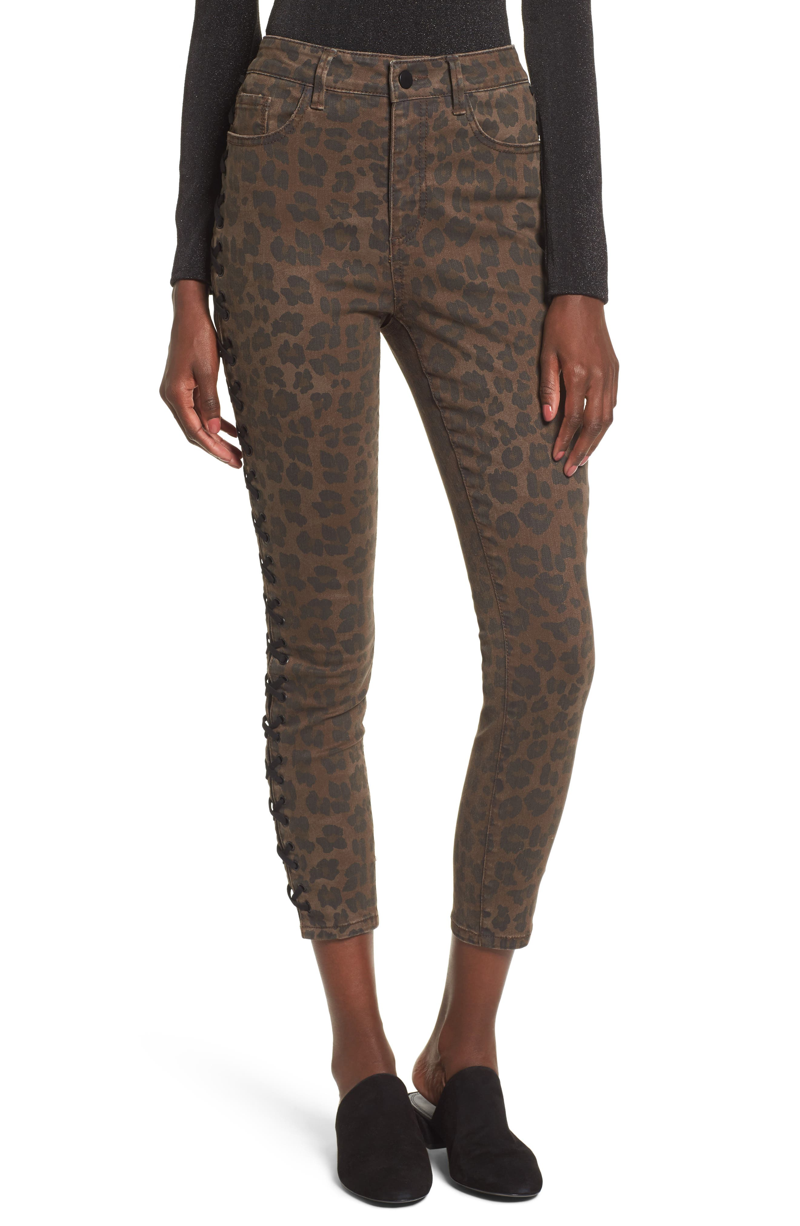 Lace Up Leopard Crop Skinny Jeans,                             Main thumbnail 1, color,